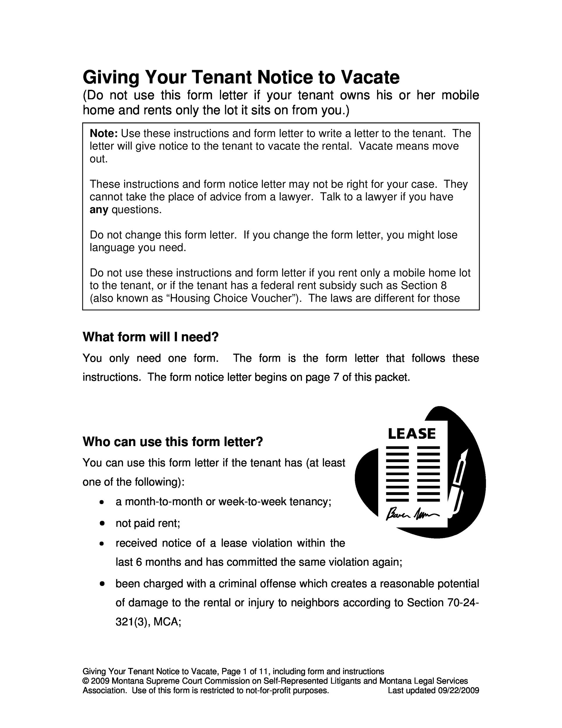 Free Giving Your Tenant Notice to Vacate
