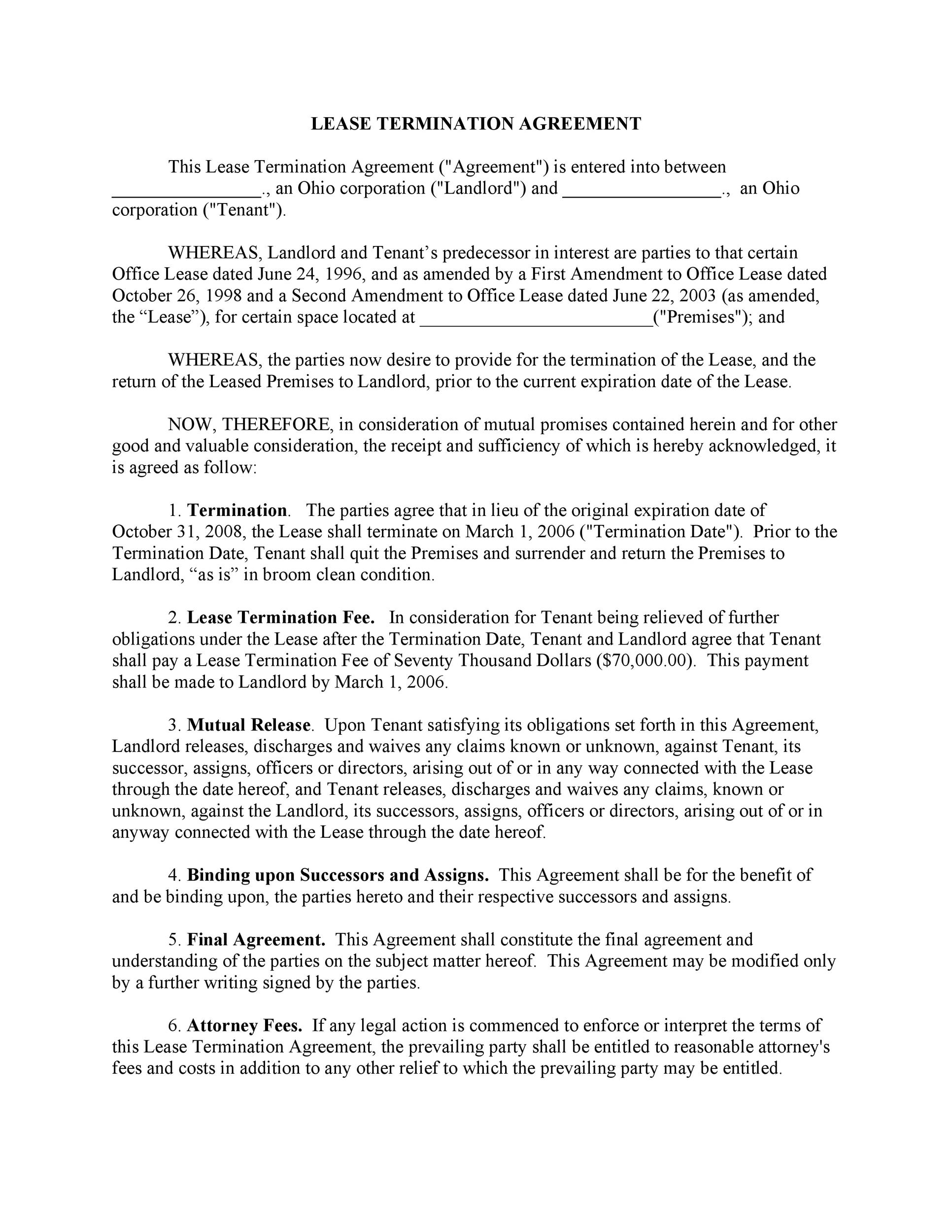 45 Eviction Notice Templates Lease Termination Letters – Commercial Lease Termination Agreement