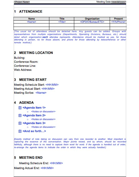 Free Meeting Minutes Template 07