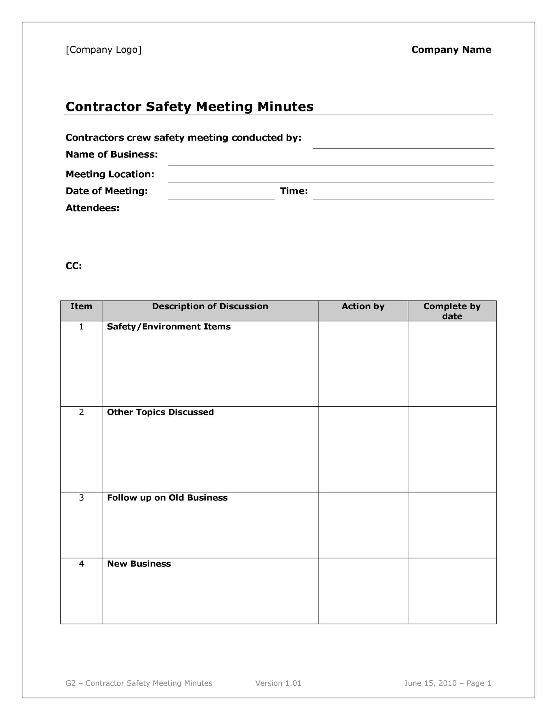 Printable Meeting Minutes Template 08  Minutes Notes Template