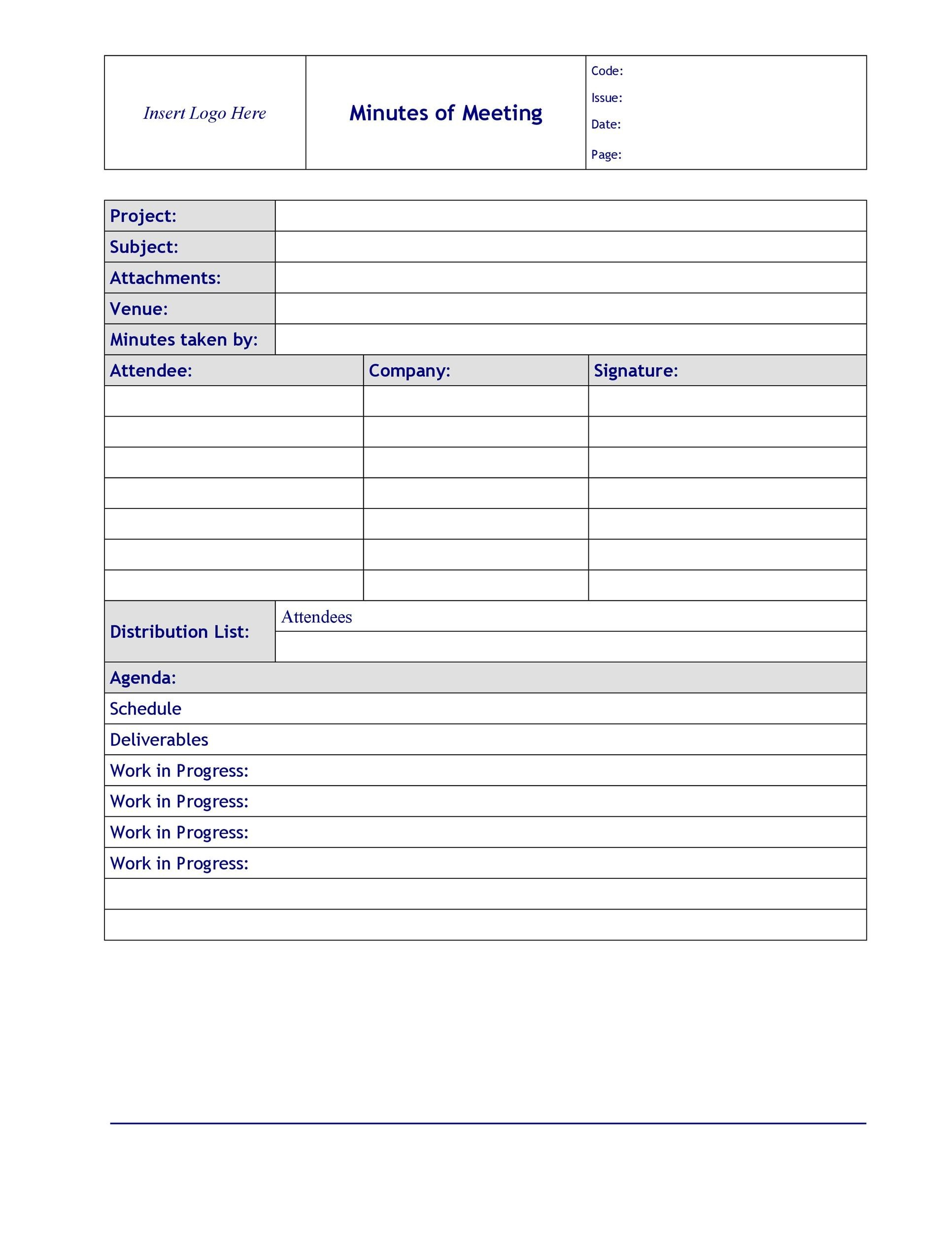 Meeting Notes Template Free  Free Sample Minutes Of Meeting Template