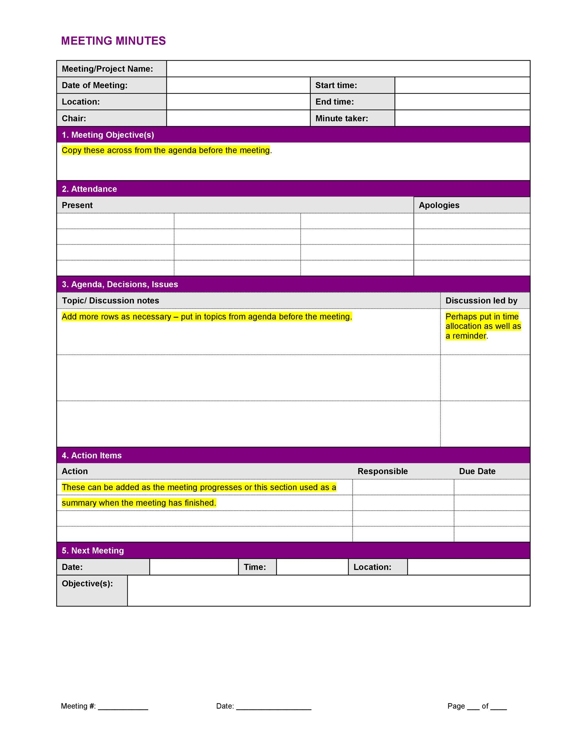 Printable Meeting Minutes Template 10  Minutes Notes Template