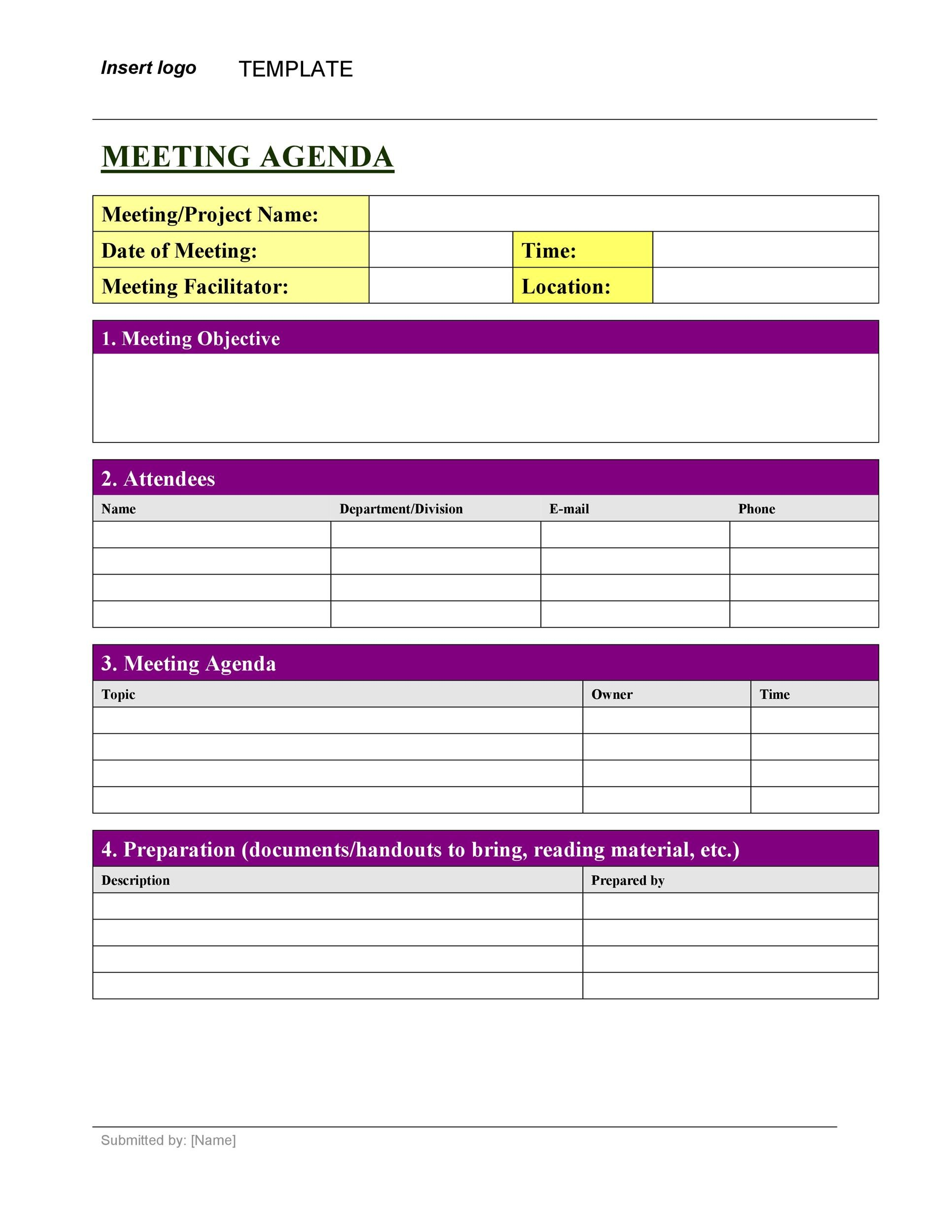 meeting minute template excel