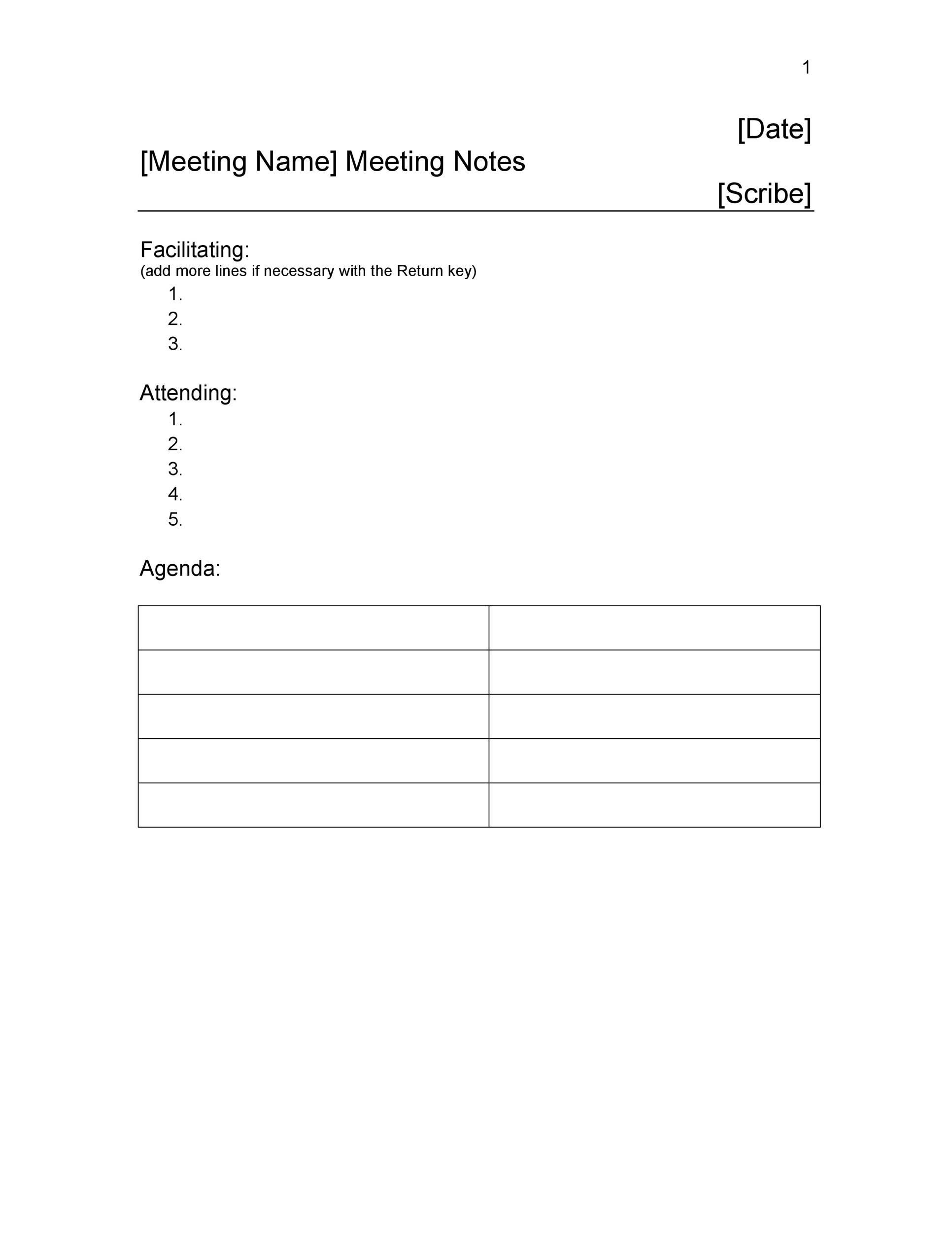 20 handy meeting minutes meeting notes templates free meeting notes template 12 flashek Images