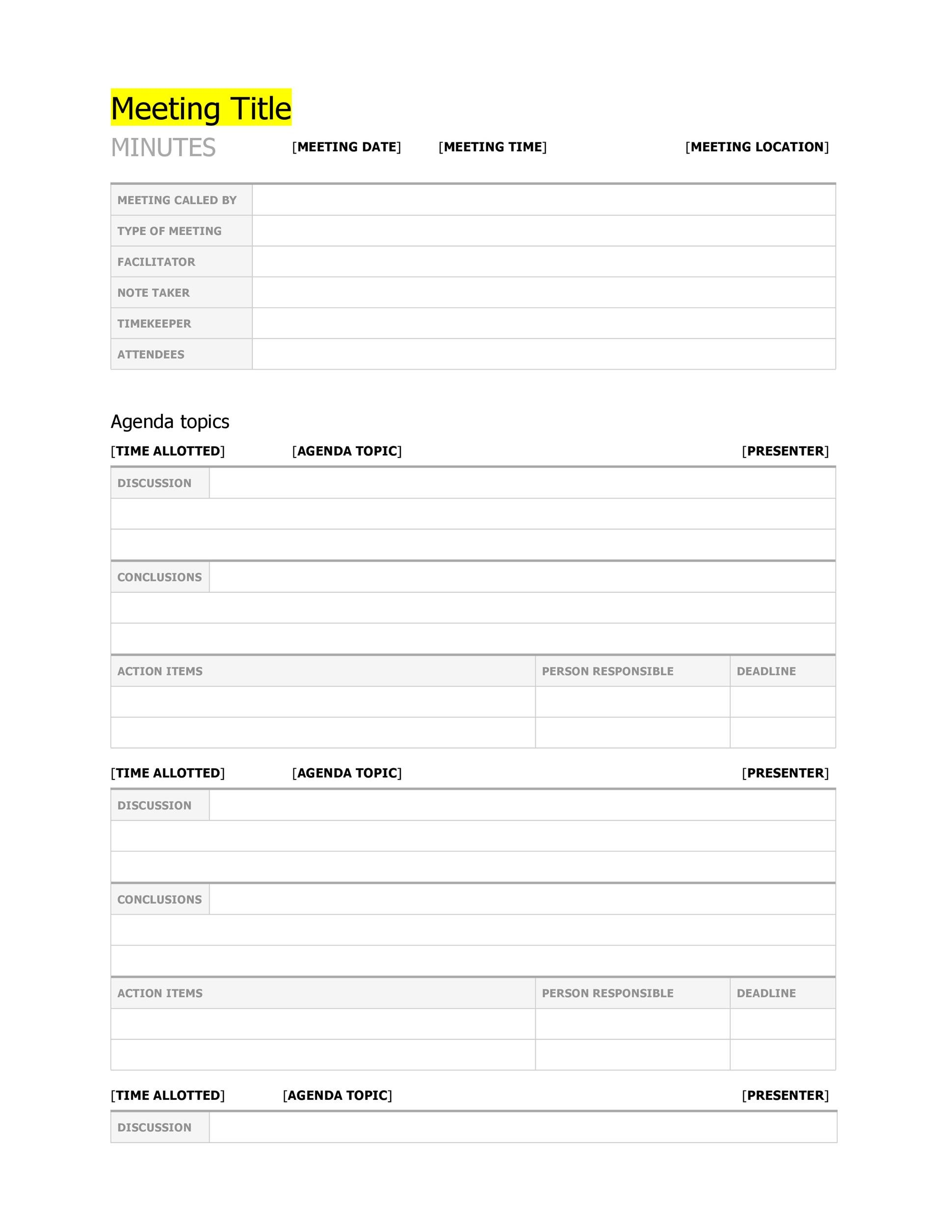 official meeting minutes template