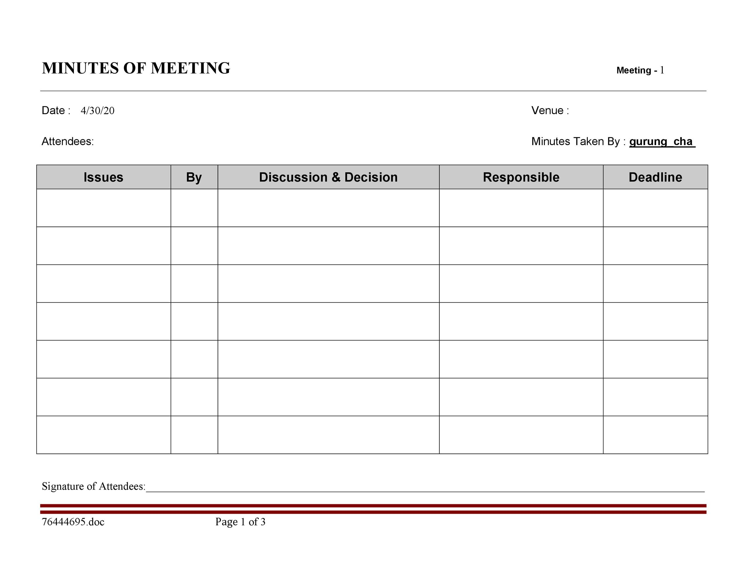 Printable Meeting Notes Template 17  Minutes Notes Template