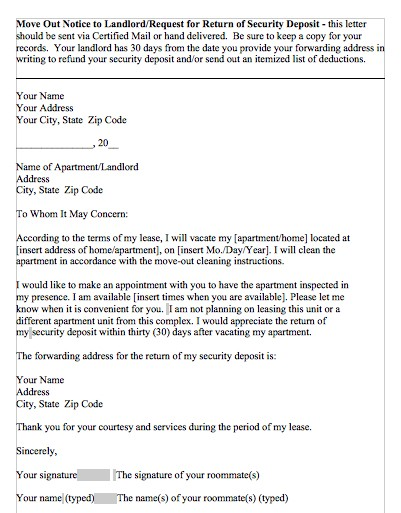 Itemized Security Deposit Deduction Letter from templatelab.com