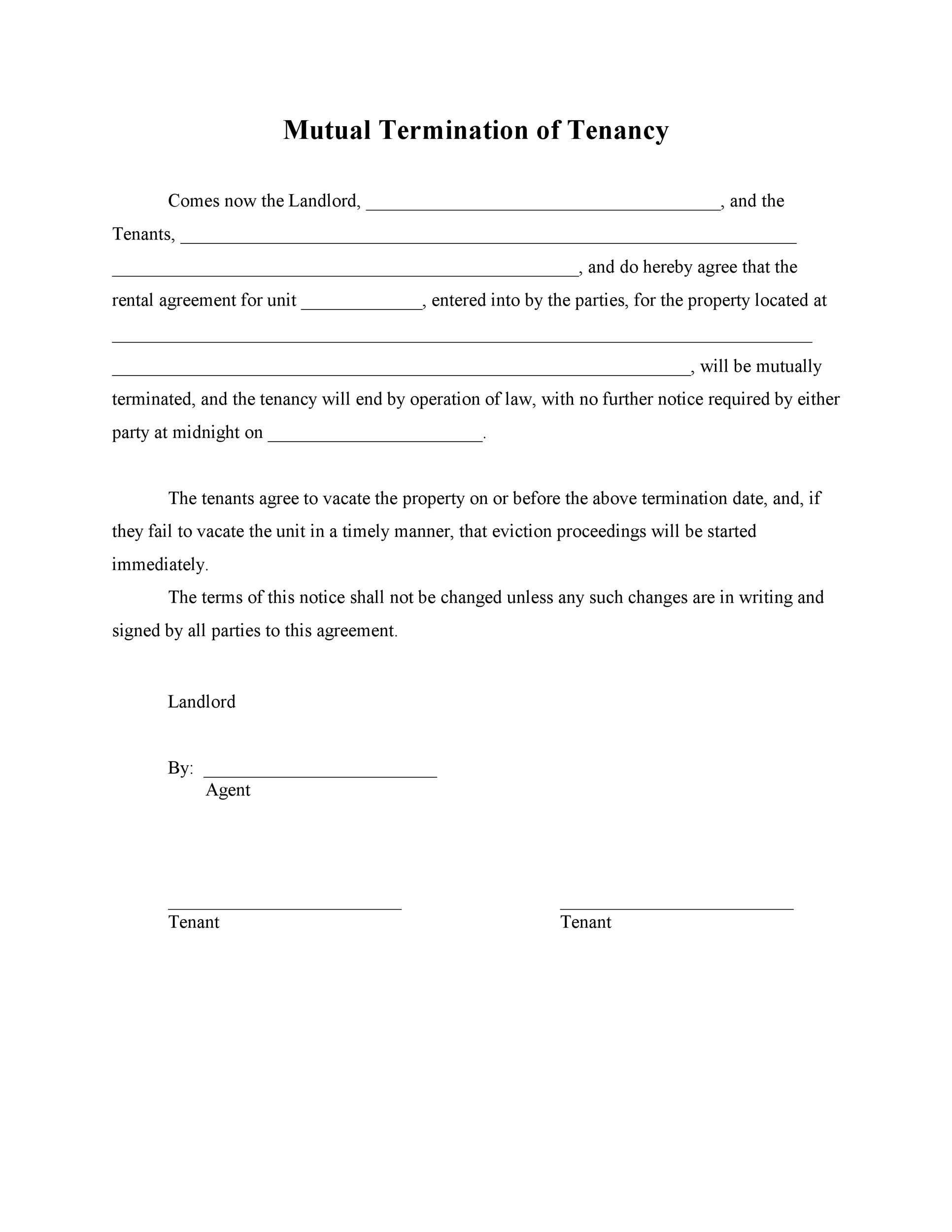Lease termination form free printable black and white pdf form house rental agreement sample rent agreement letter sample rental platinumwayz