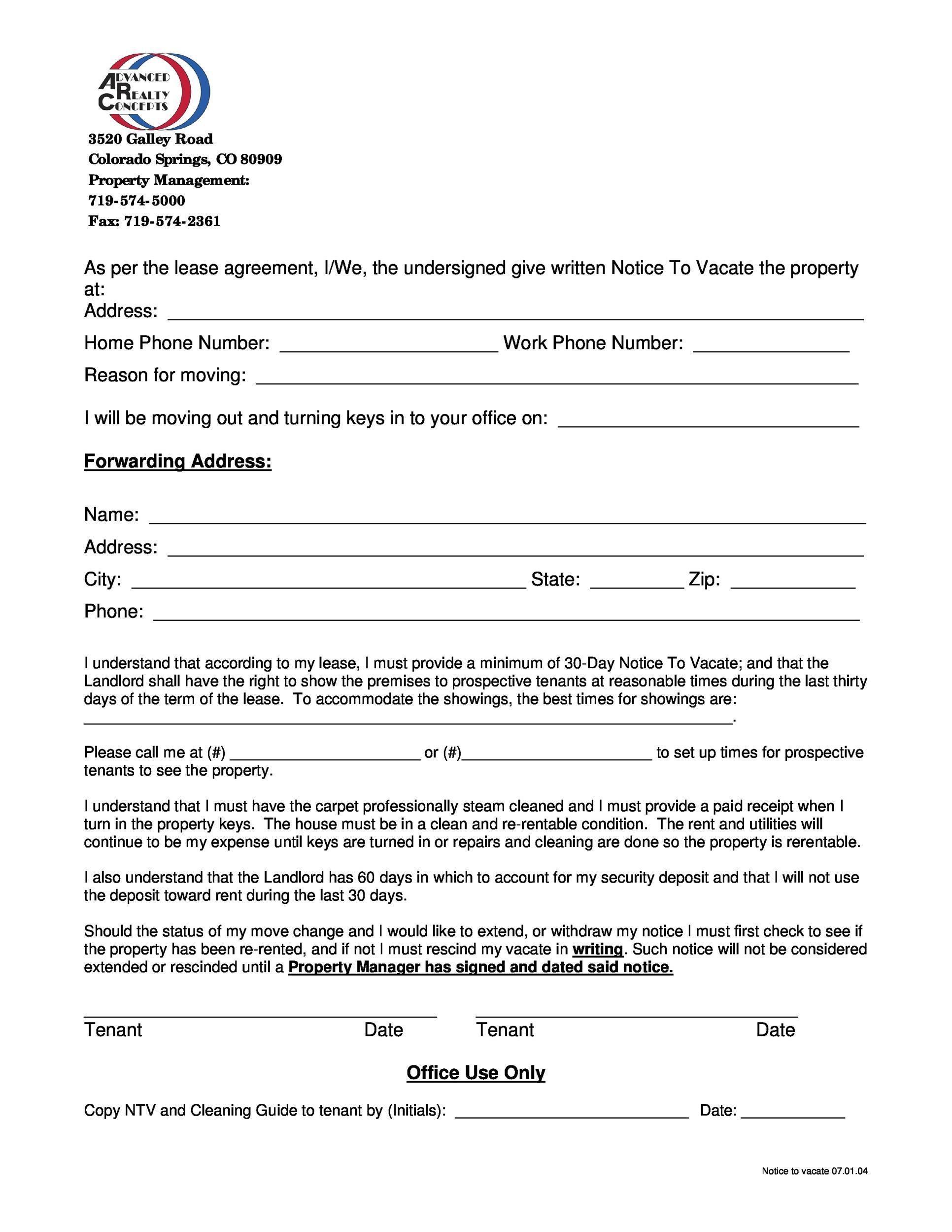 45 eviction notice templates lease termination letters printable notice to vacate the property thecheapjerseys Images