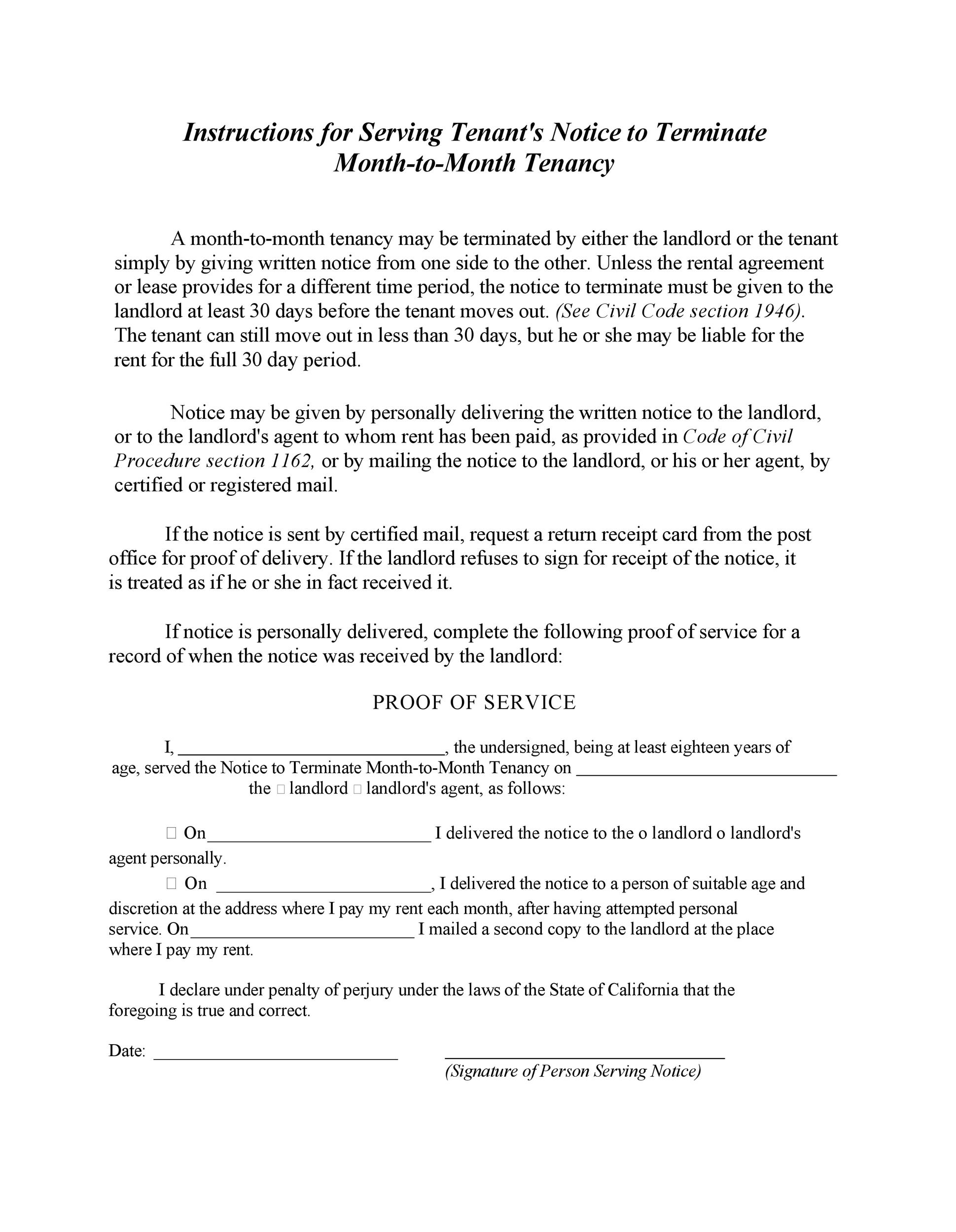 Notice to Terminate Month-to-Month Tenancy