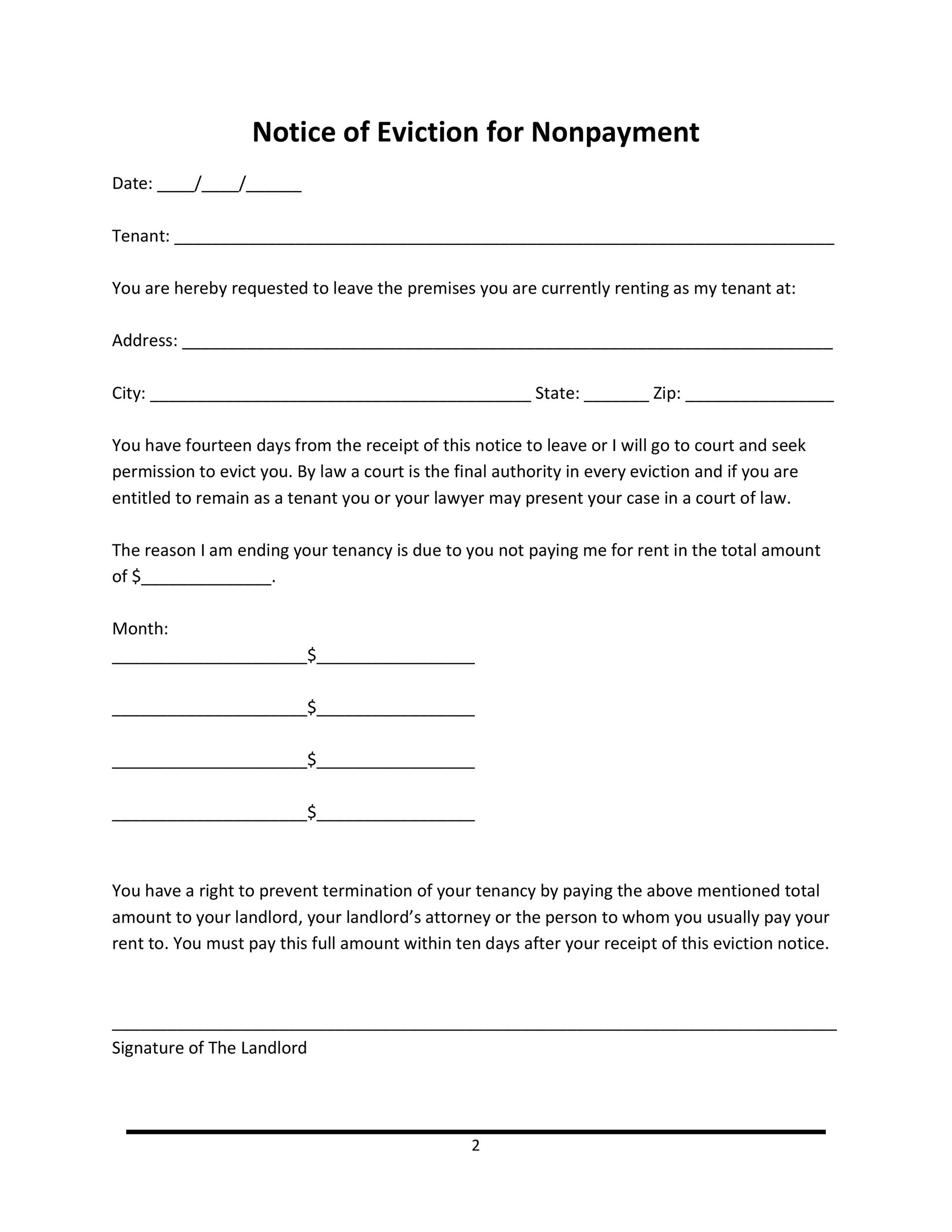 Printable Notice Of Eviction For Nonpayment  Eviction Letter Templates