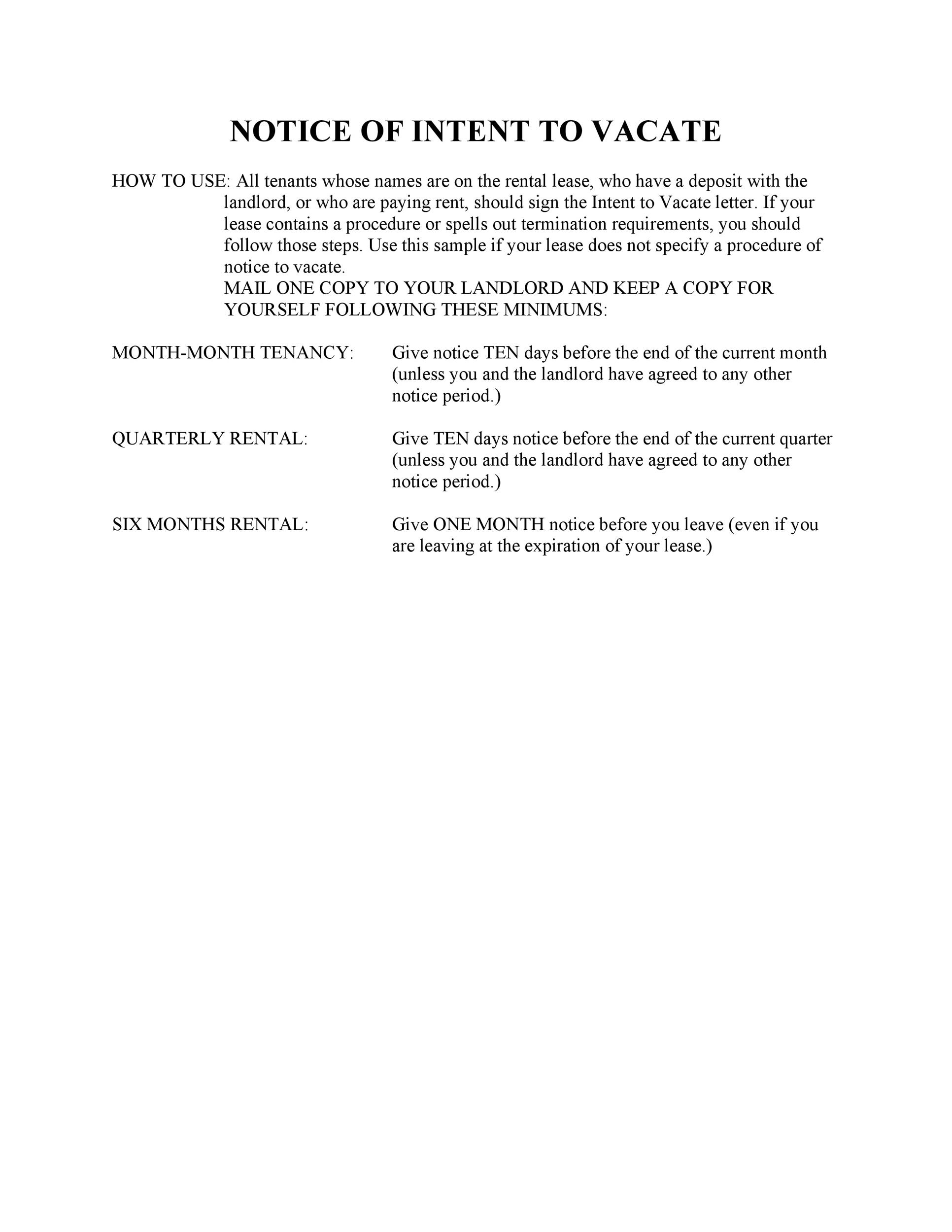 Free Notice of intent to vacate