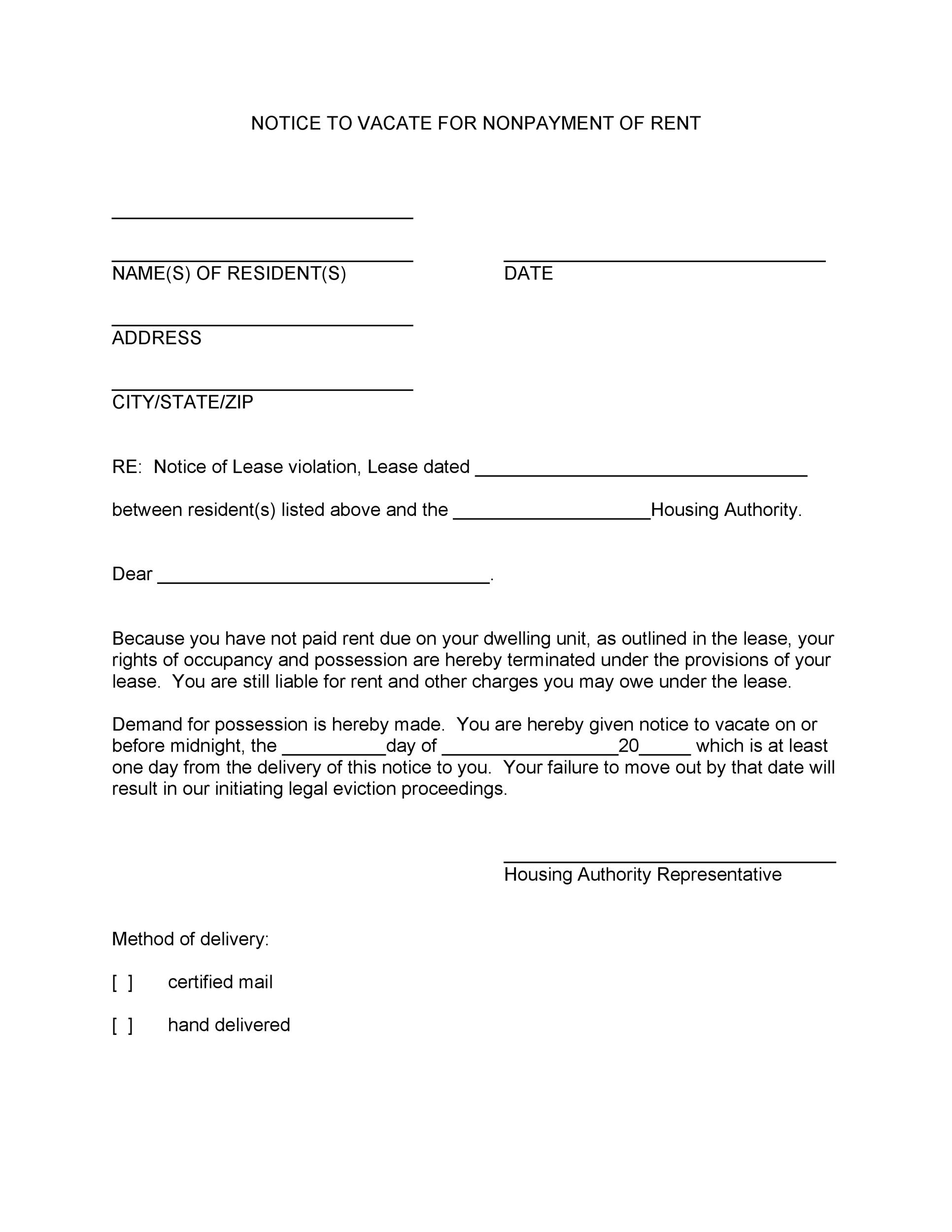 45 Eviction Notice Templates Lease Termination Letters – Template Notice to Vacate