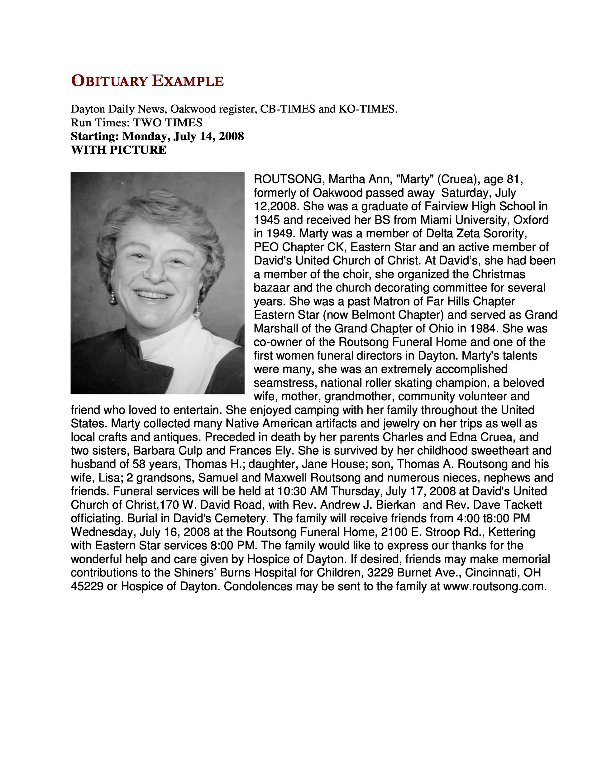 Free Obituary Example