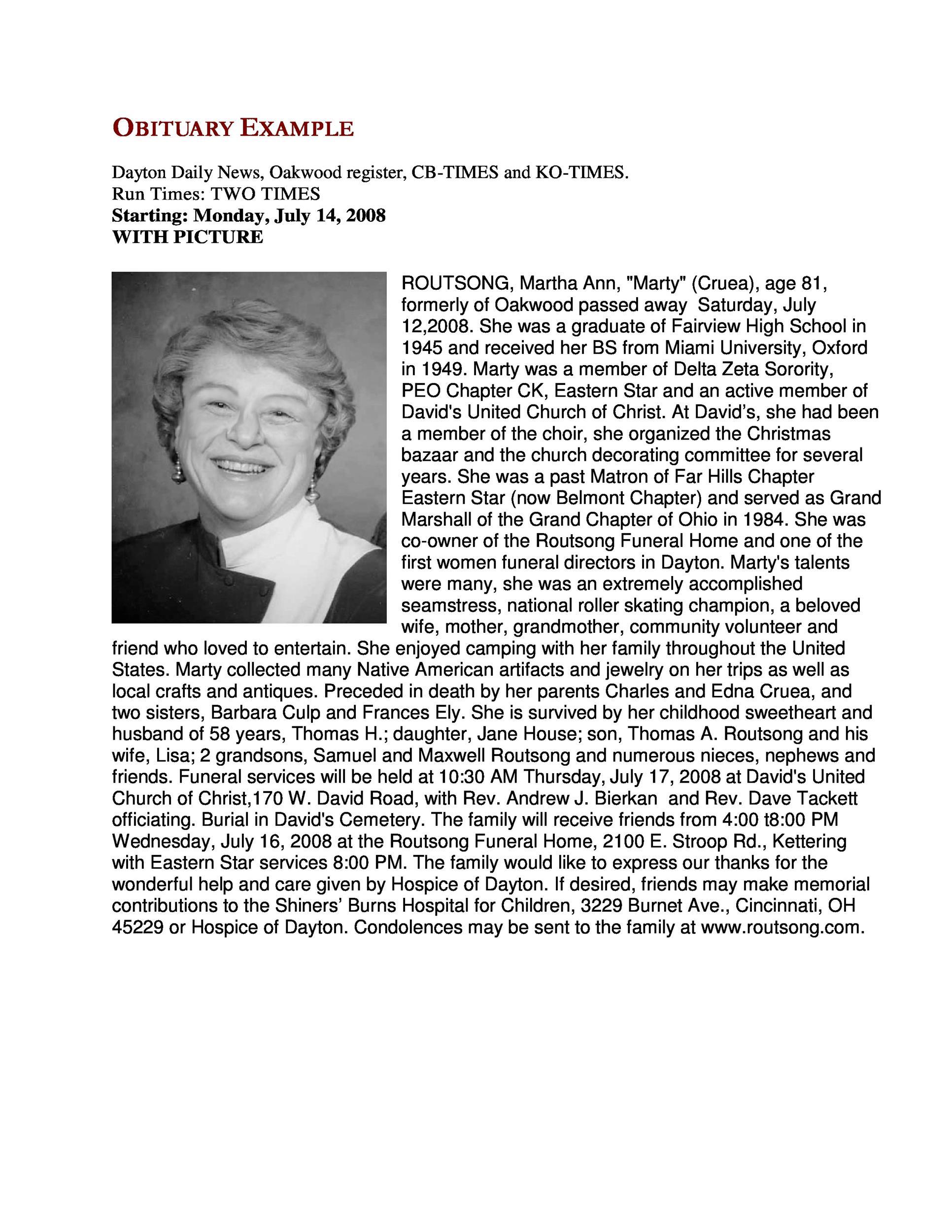 Free Obituary Example