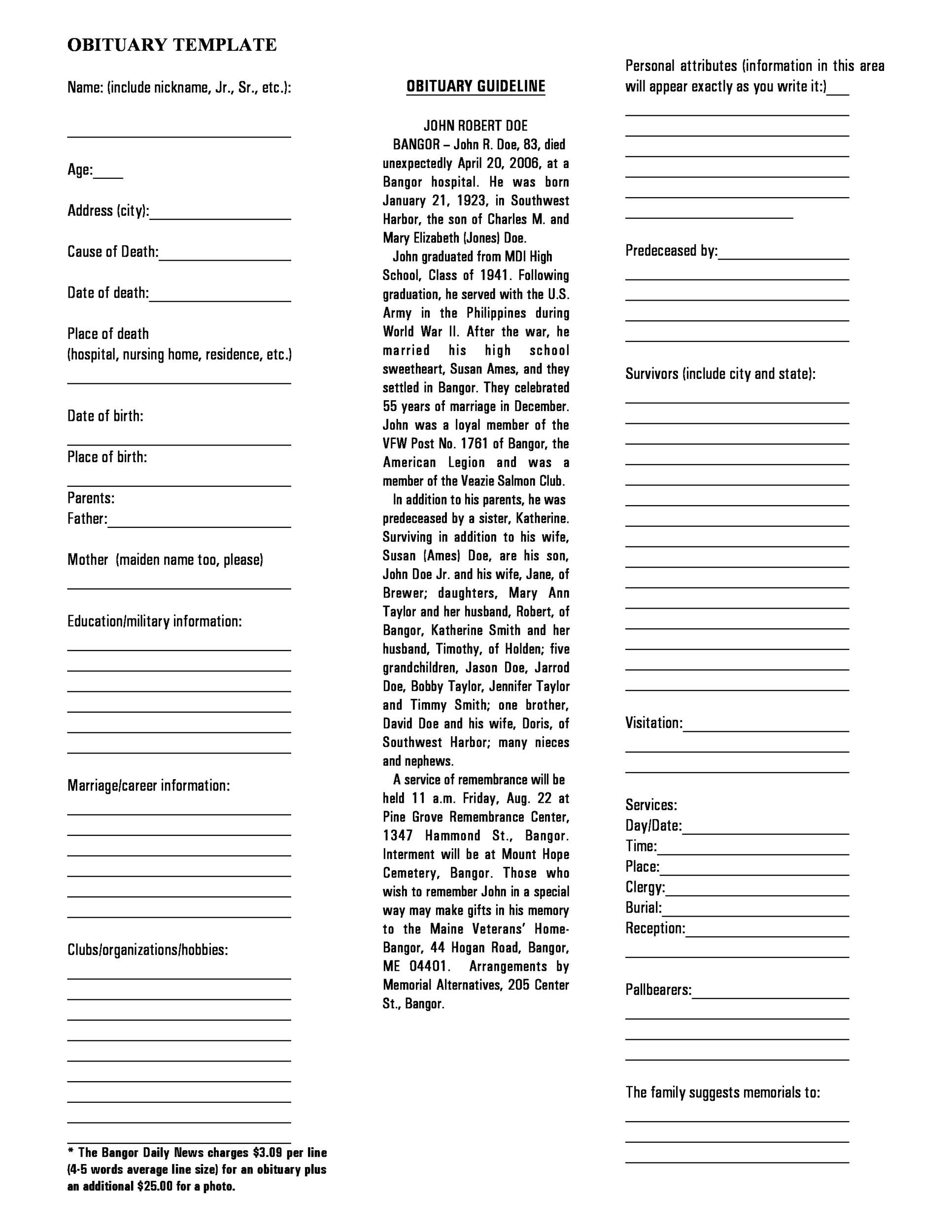 Free Obituary Samples PDF 01