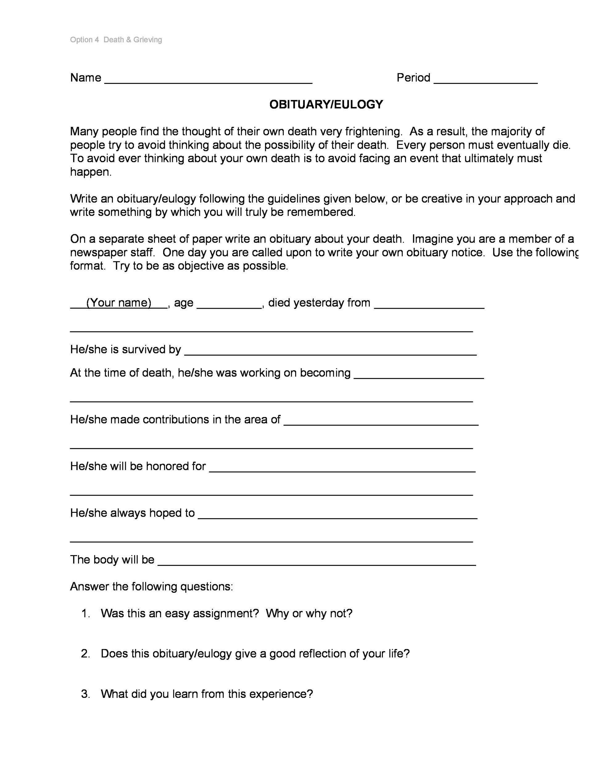 Free Obituary Template PDF