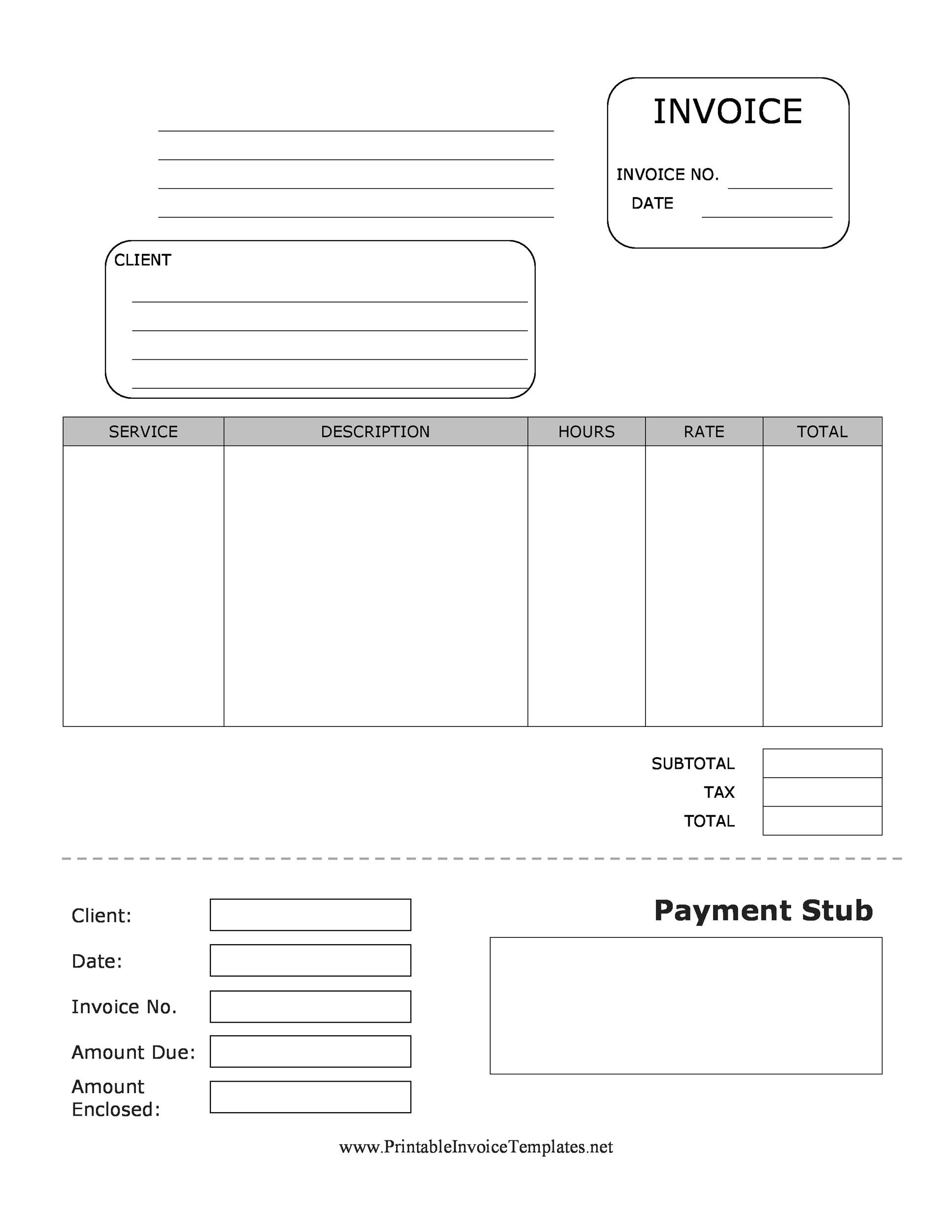 Printable Pay Stub Template 01  Payroll Stub Template Free
