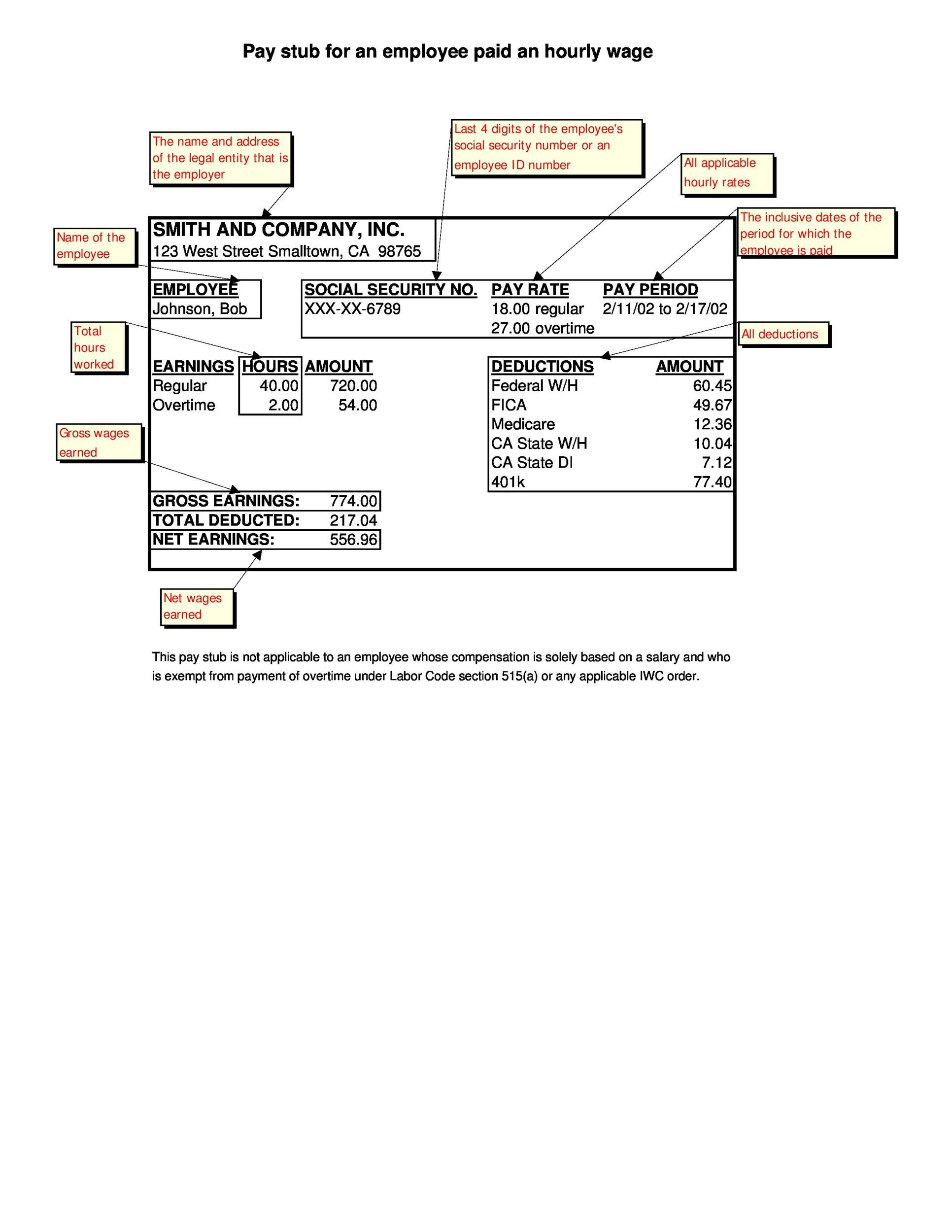 Free Pay Stub Template 04