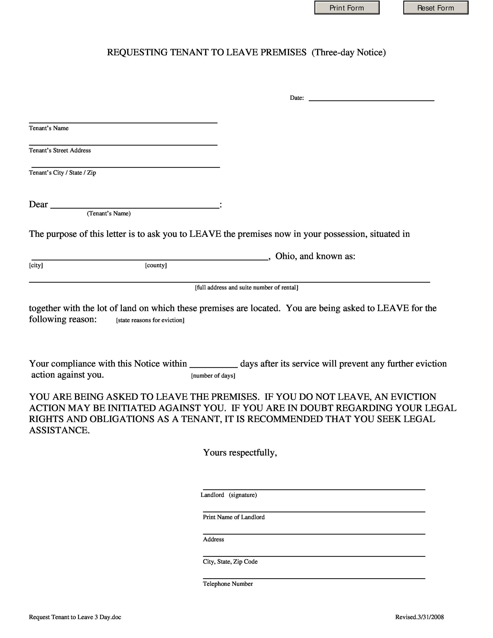 Free Requesting Tenant To Leave Premises
