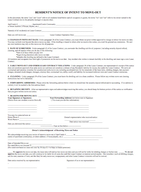 Free Resident's notice of intent to move-out