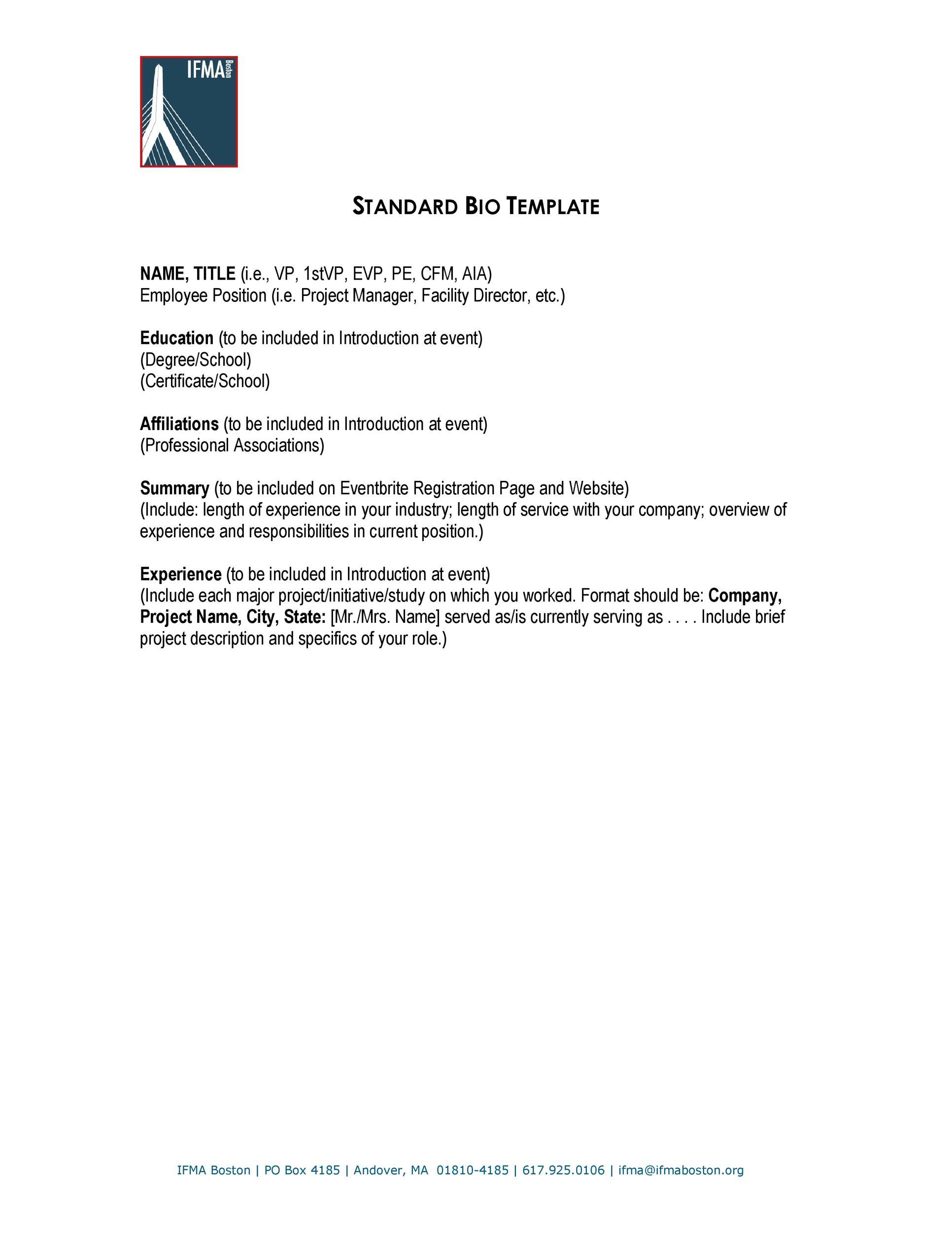 Free STANDARD BIO TEMPLATE