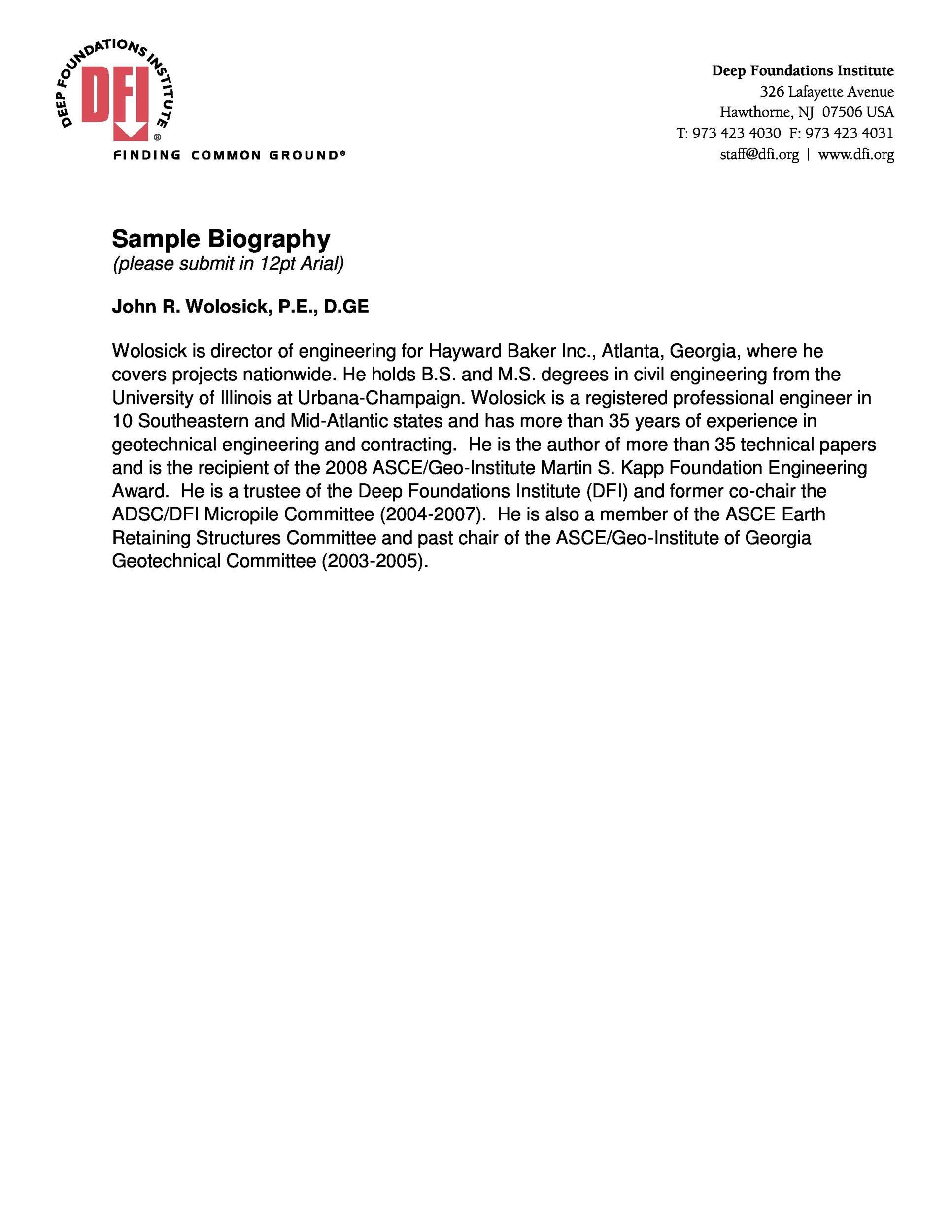 Free Sample Biography