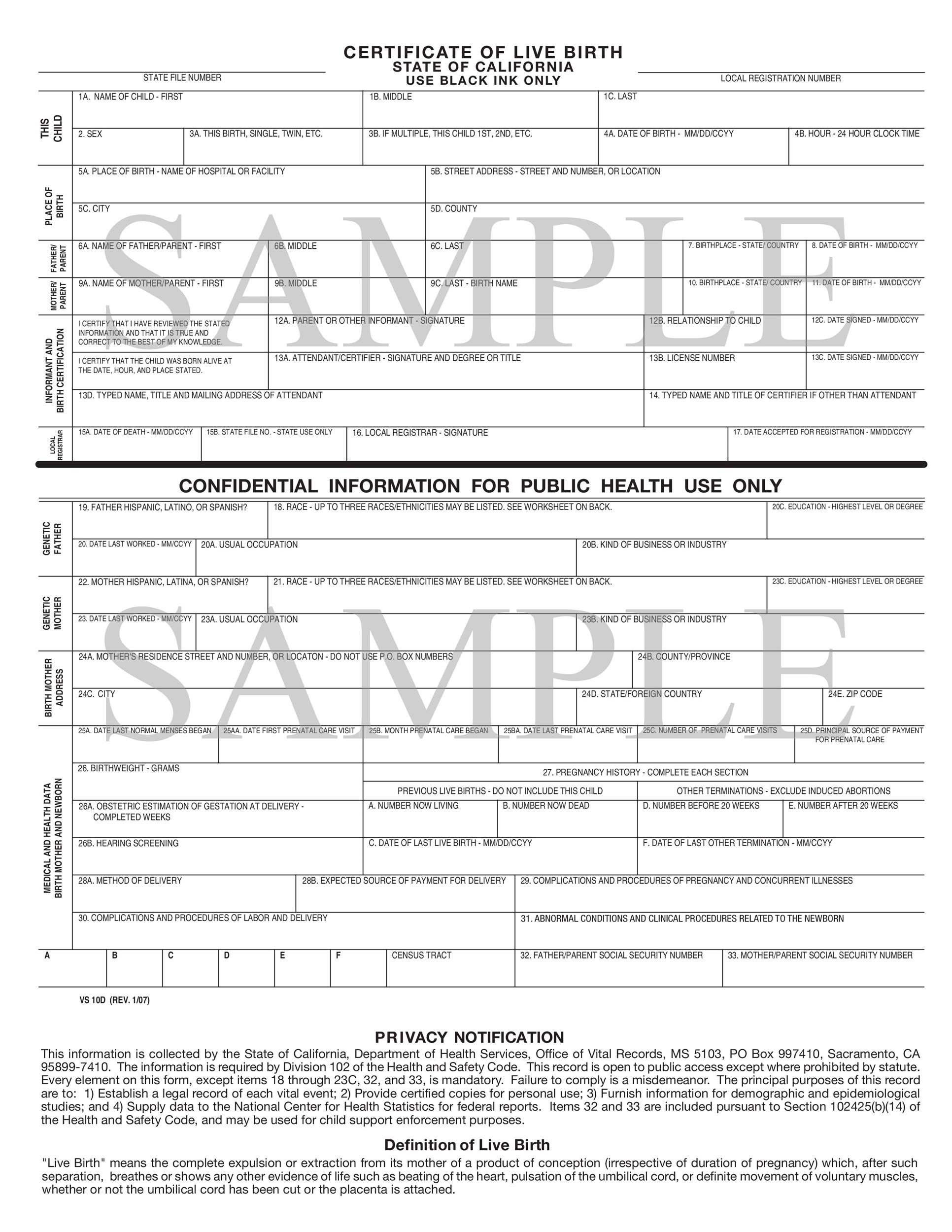 Printable Sample Birth Certificate Template 12