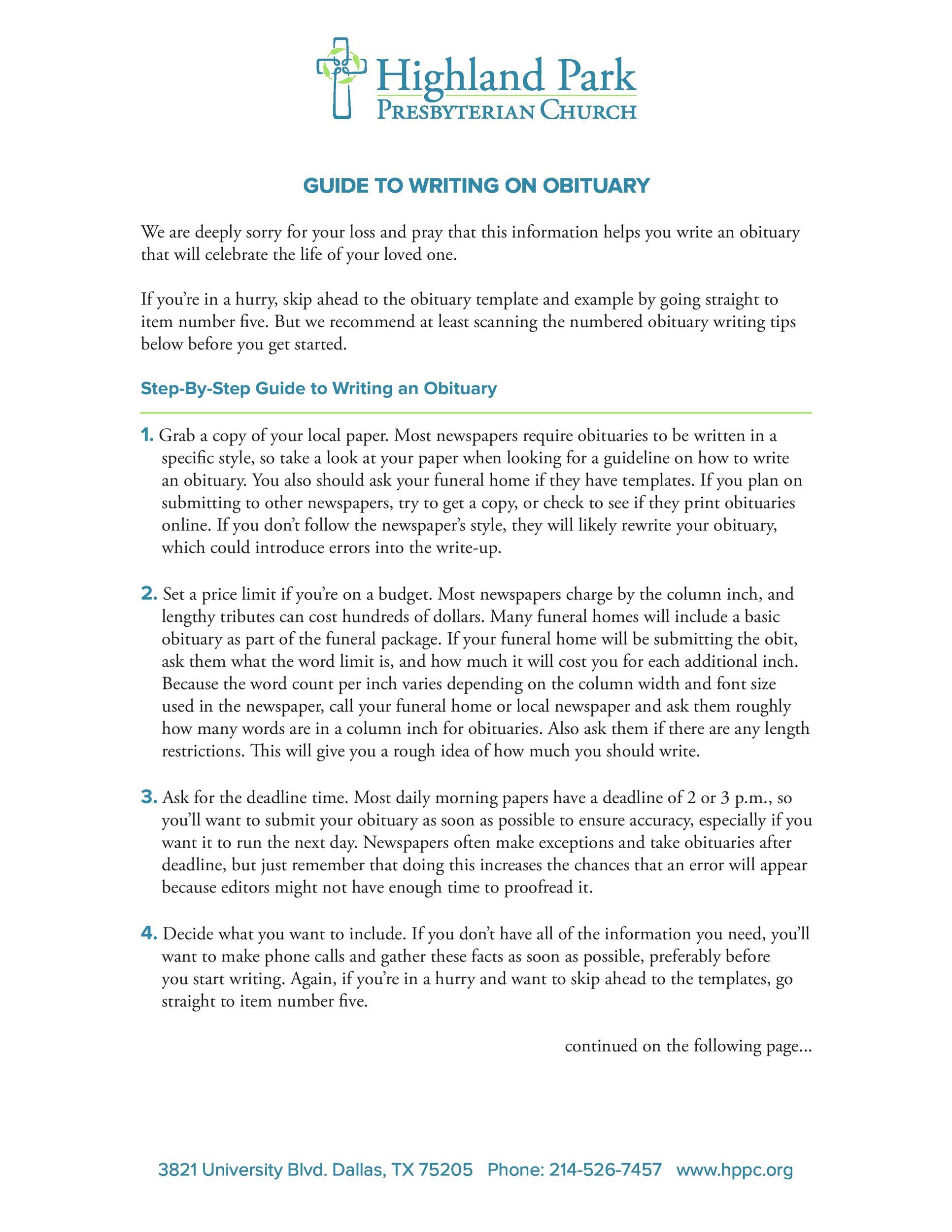 Free Sample Obituaries 02