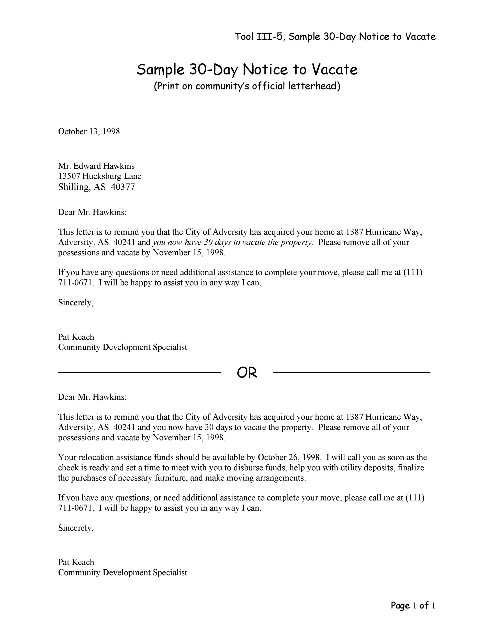 Printable Sample 30 Day Notice To Vacate  Notice To Vacate Property Template
