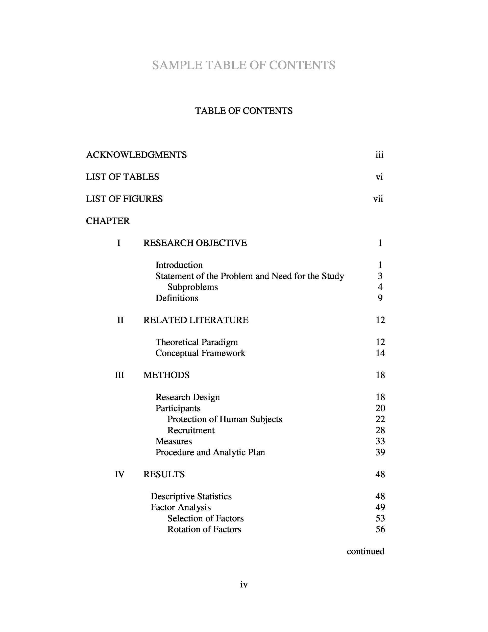 Free Table of Contents Template PDF 01