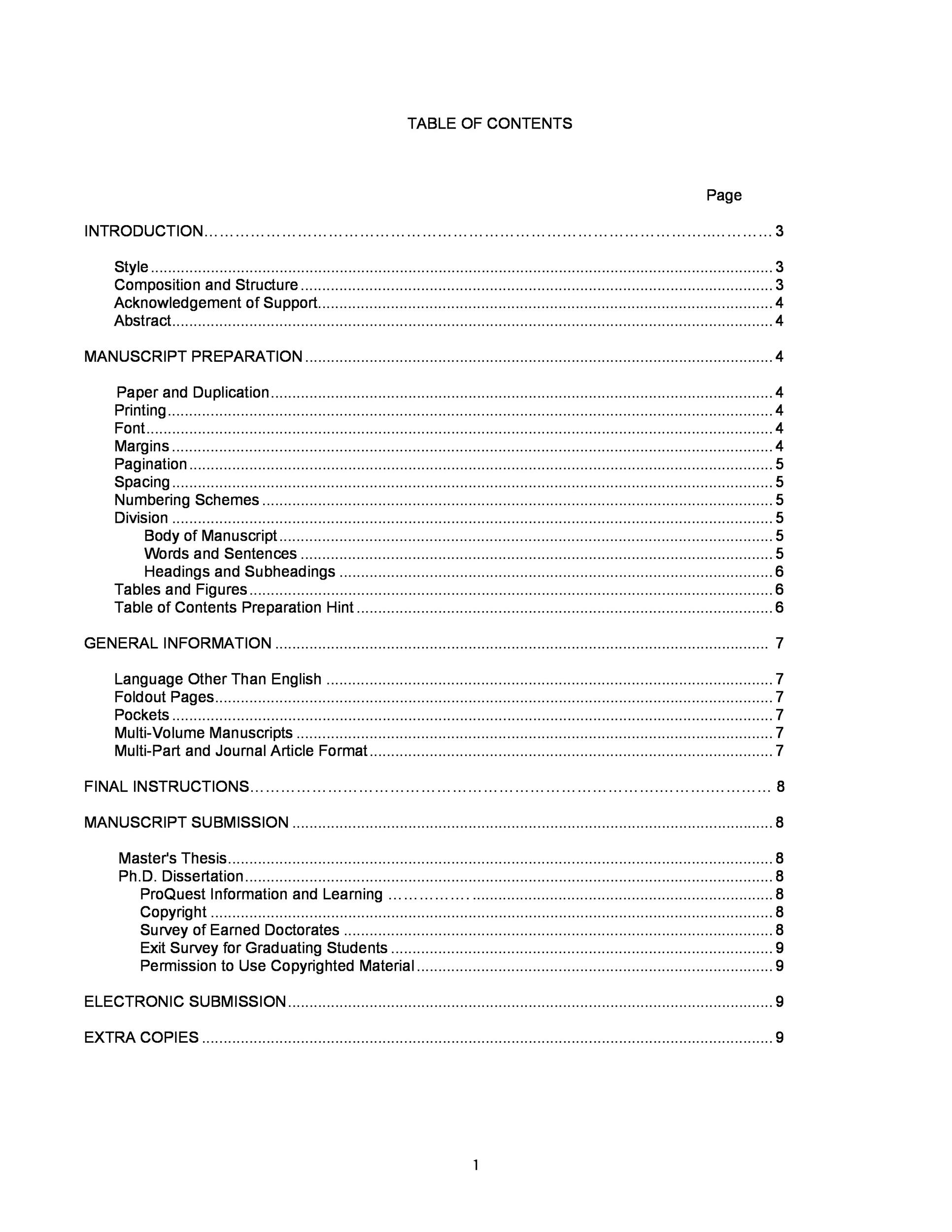 Table Of Contents Templates And Examples  Template Lab