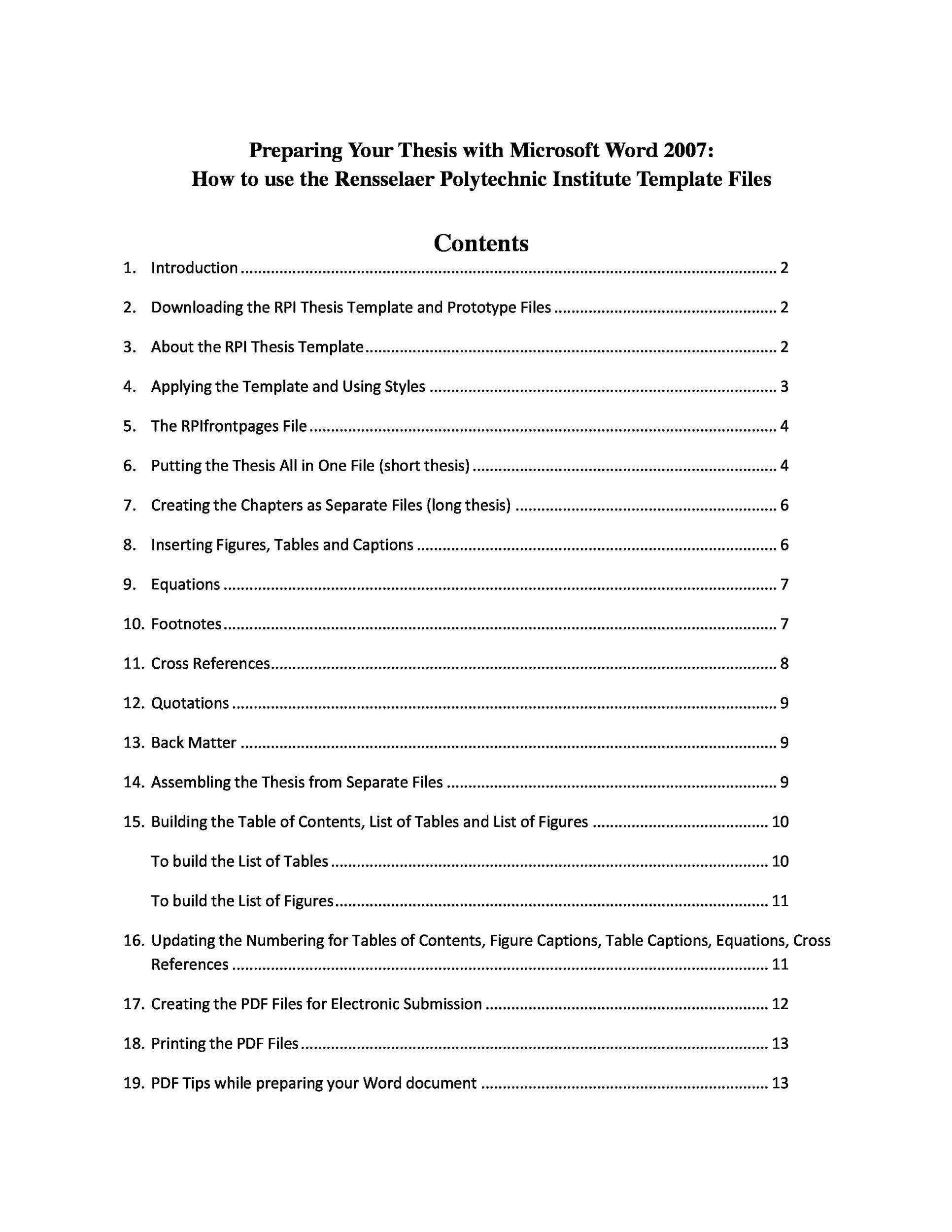 Printable Table Of Contents Template PDF 04  Formal Report Format Sample