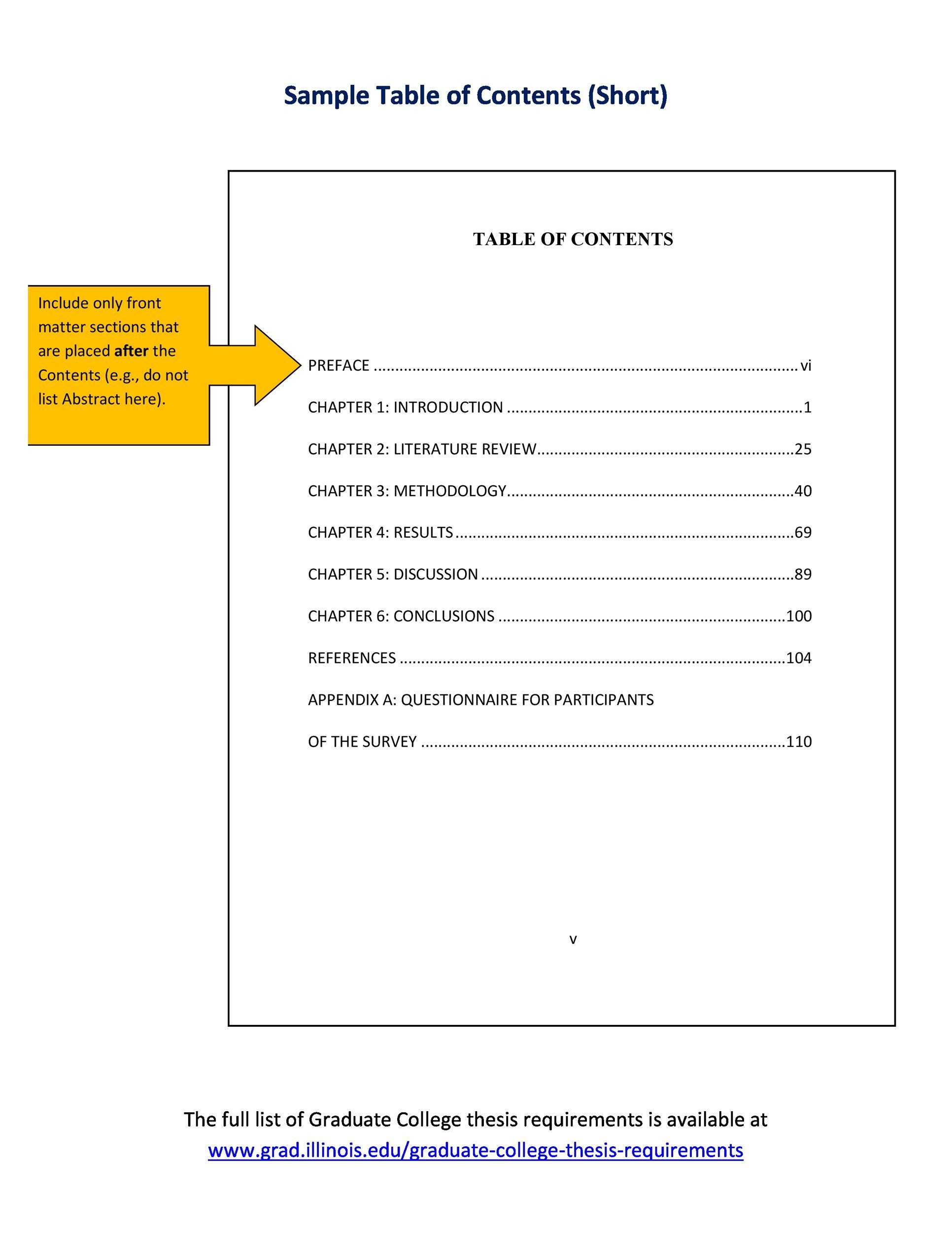 essay contents page example