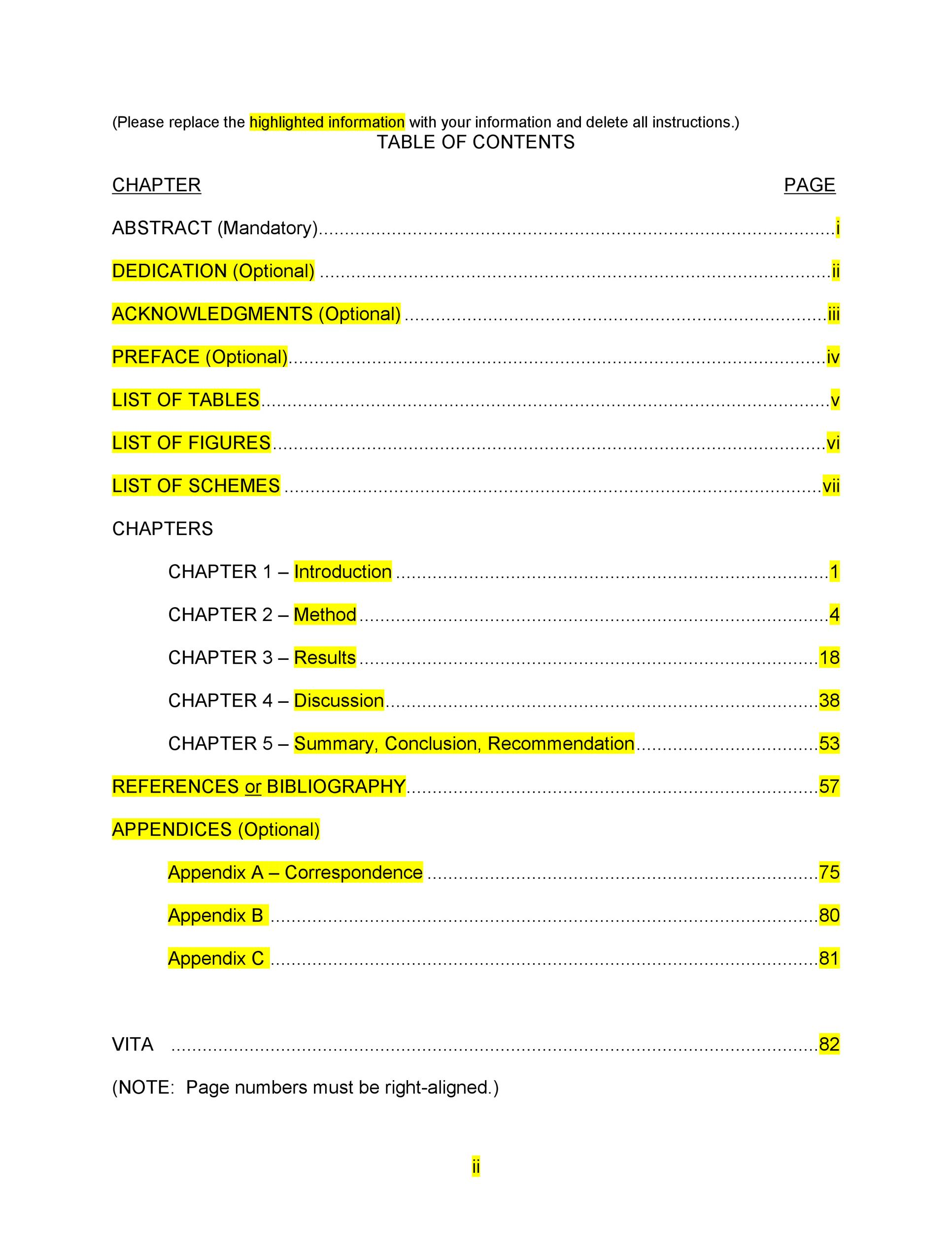 Printable Table Of Contents Template Word 09
