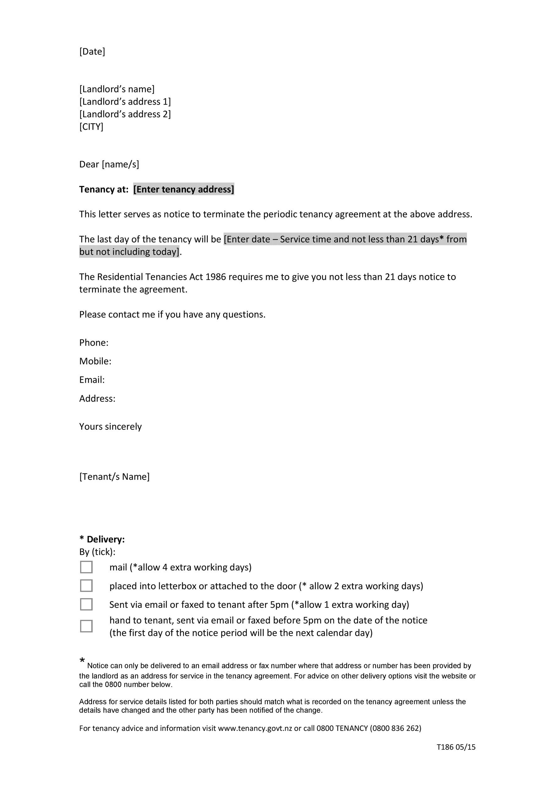 Free Terminate Tenancy Agreement Template