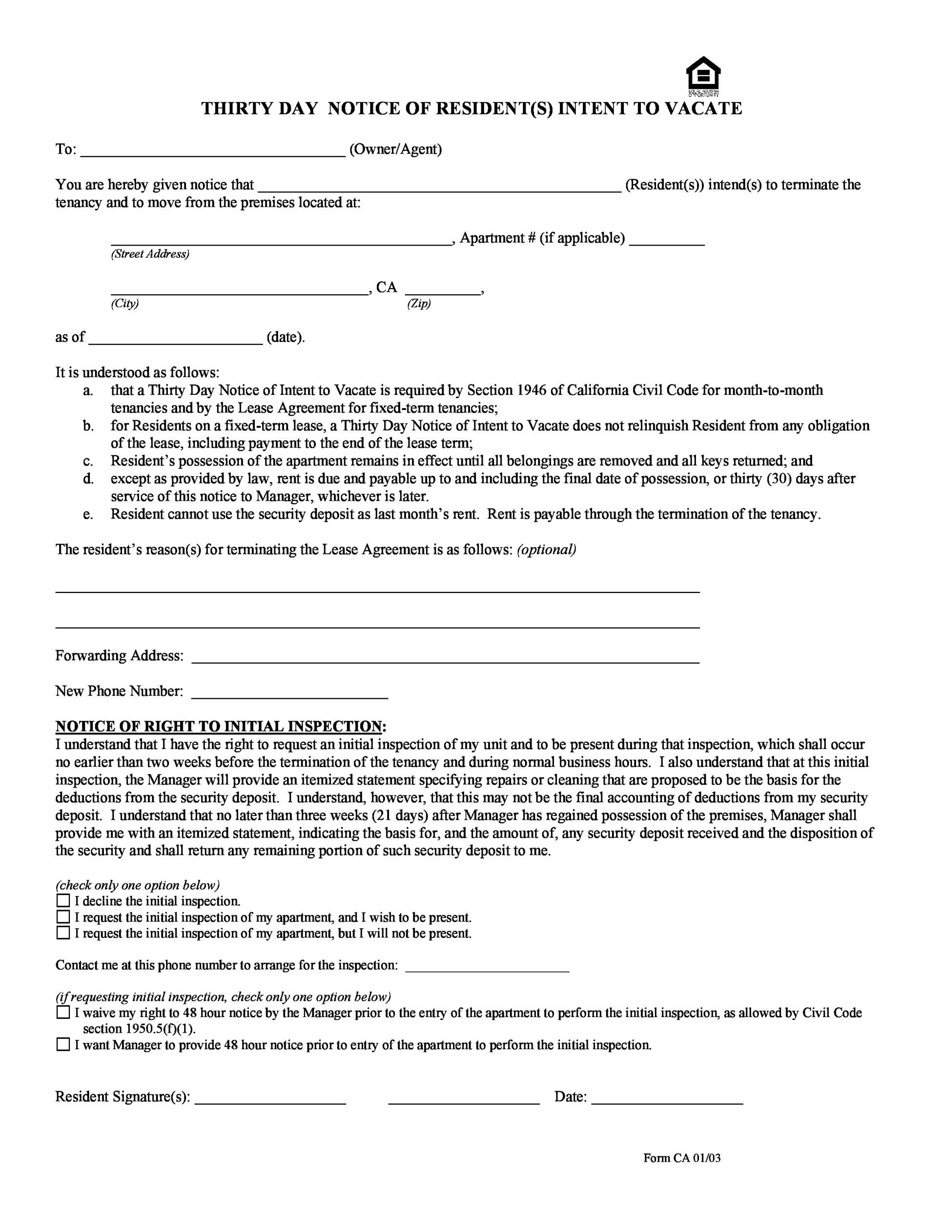 45 Eviction Notice Templates Lease Termination Letters – 30 Day Eviction Notice
