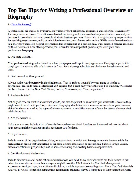 Free Top Ten Tips for Writing a Professional Overview or Biography