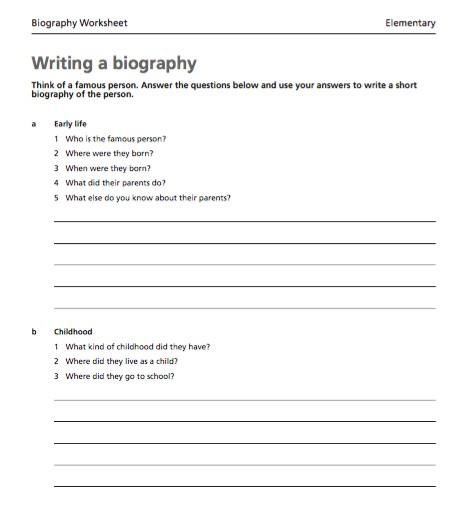 Free Writing a biography