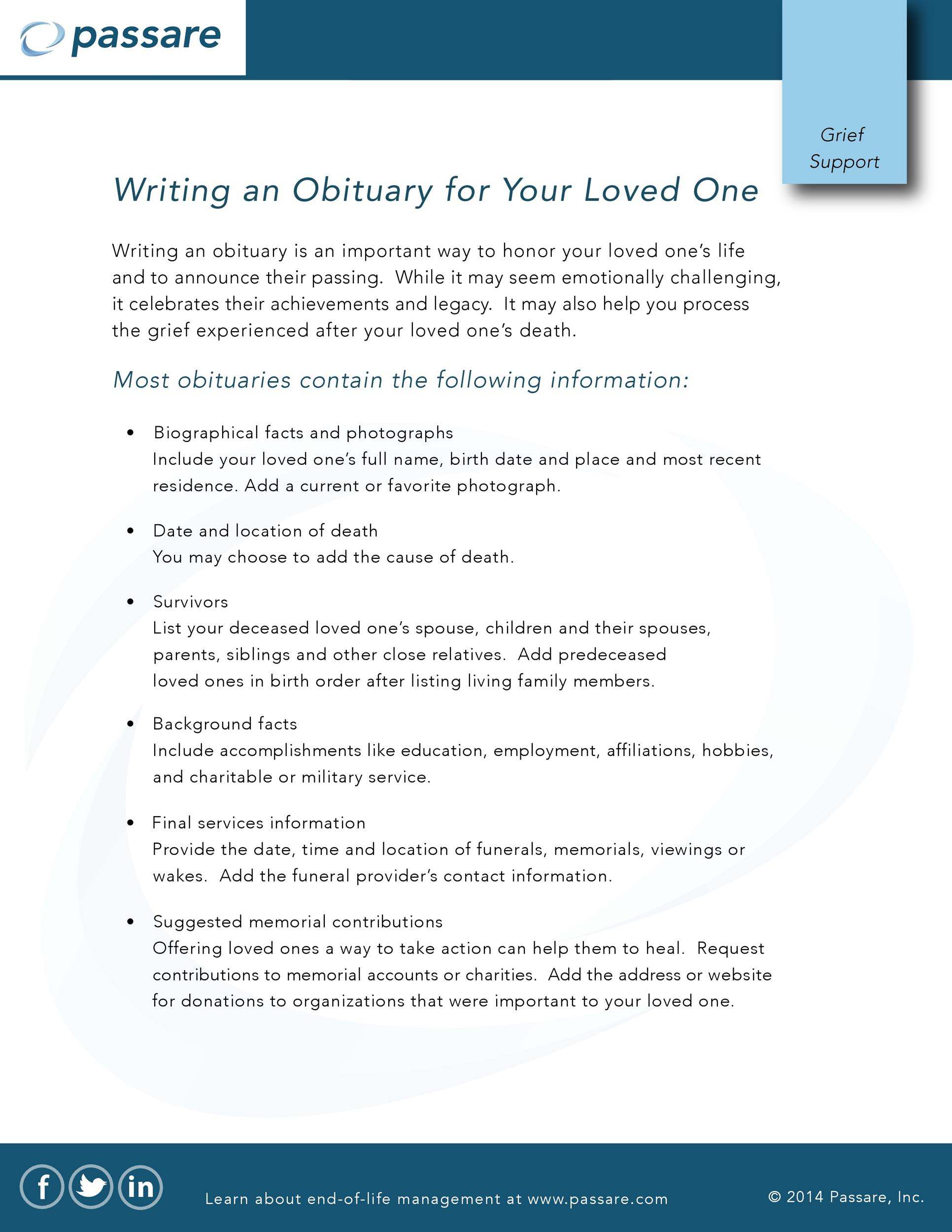 Free Writing an Obituary for Your Loved One