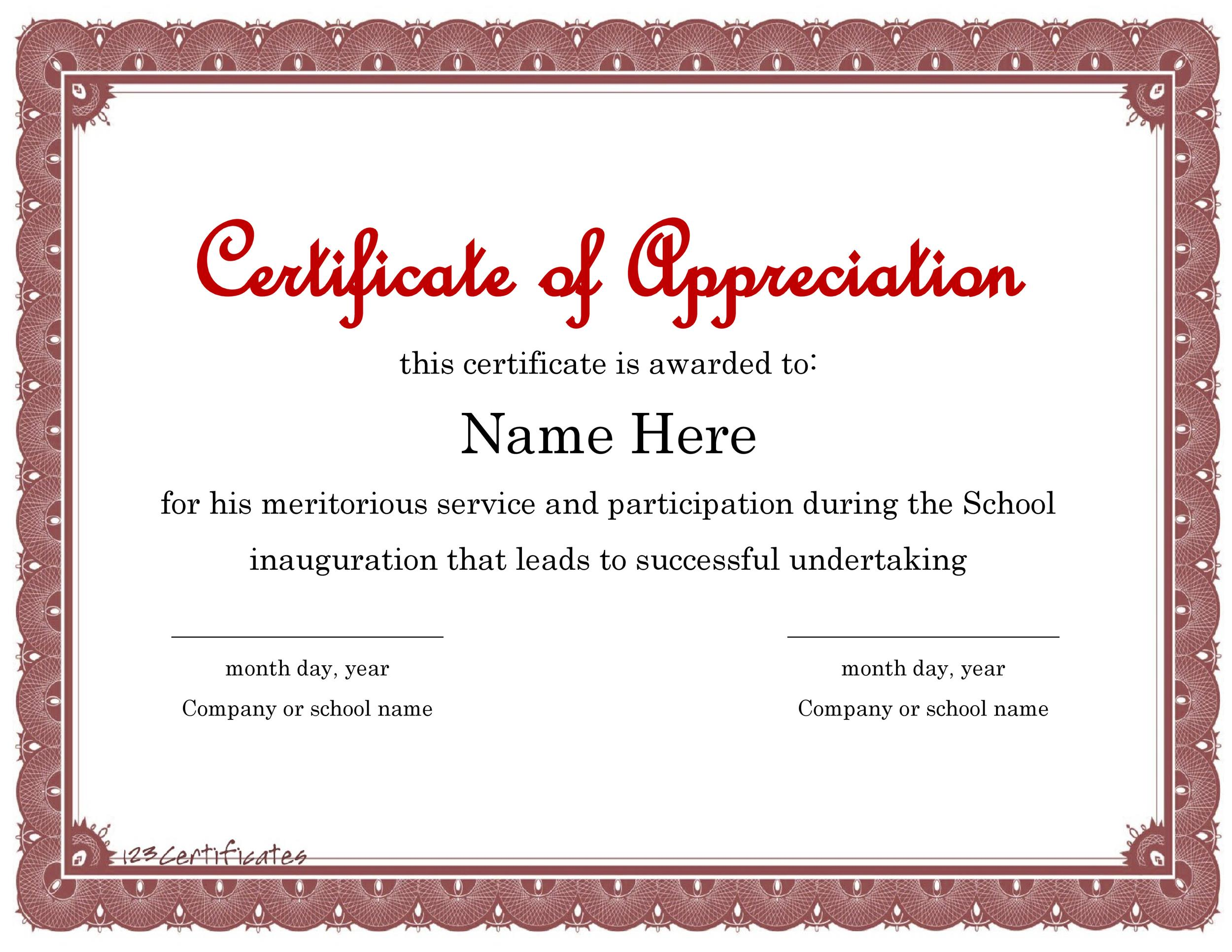 Printable Certificate Of Appreciation 01  Free Appreciation Certificate Templates