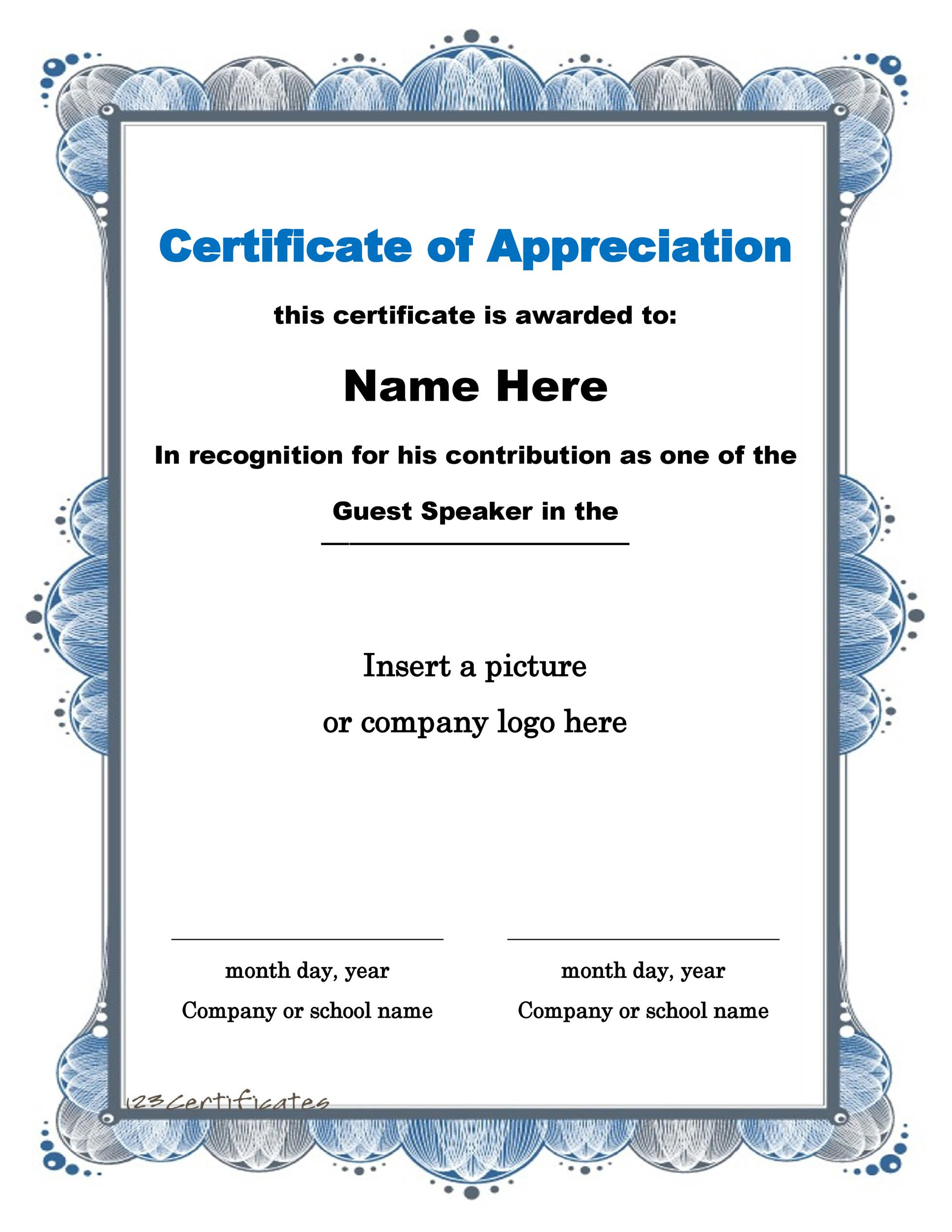 Printable Certificate Of Appreciation 02  Free Certificate Templates Word