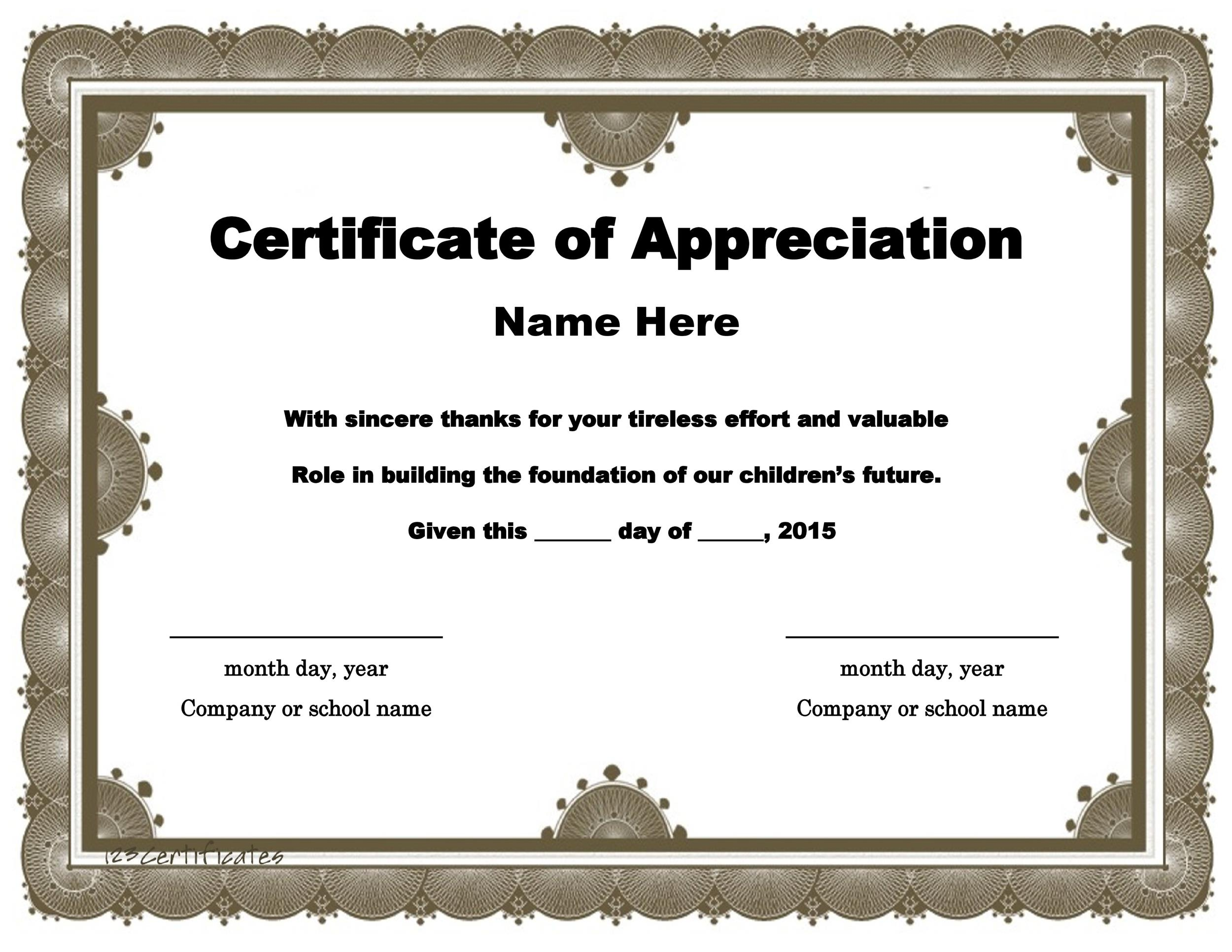 30 Free Certificate of Appreciation Templates and Letters – Blank Certificate Format