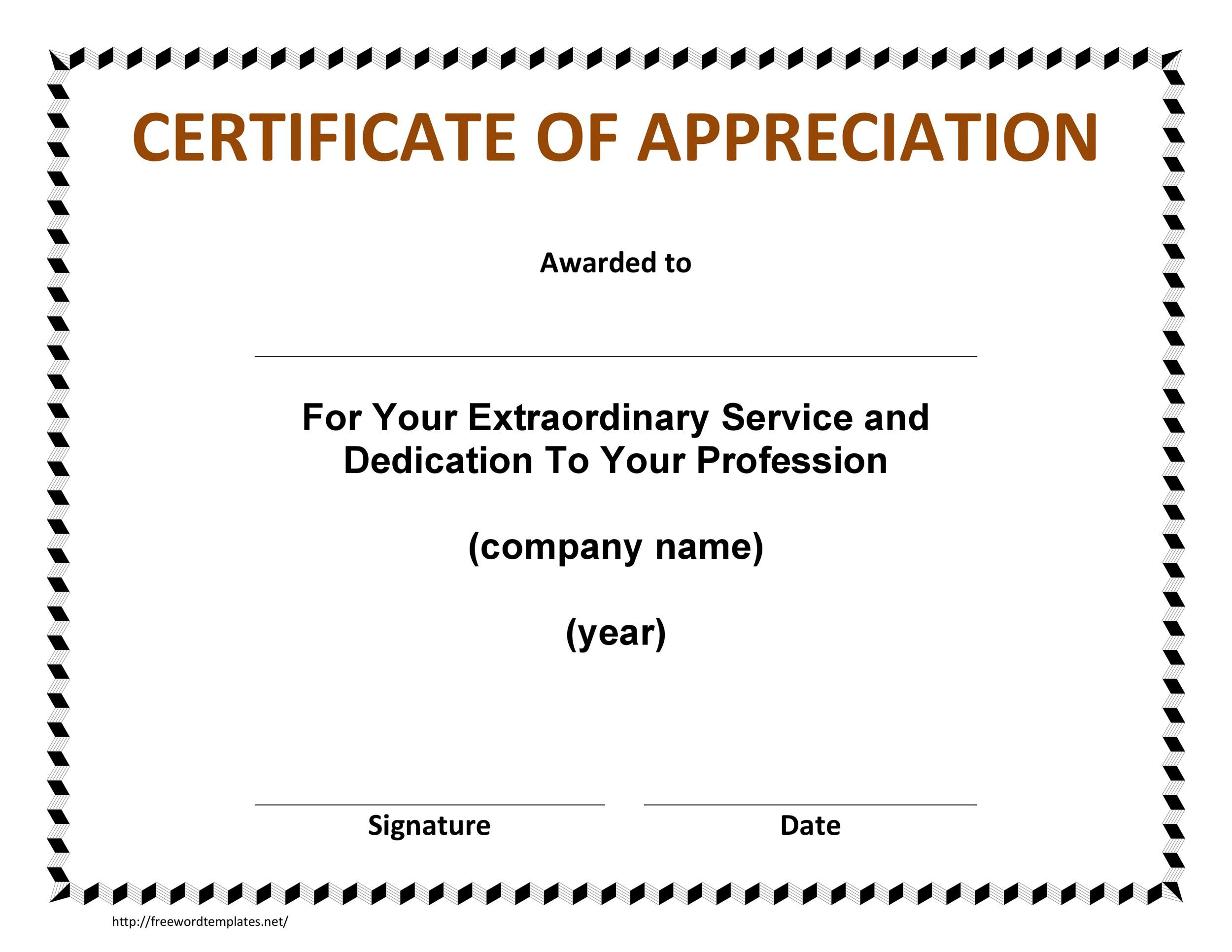 template certificate of appreciation