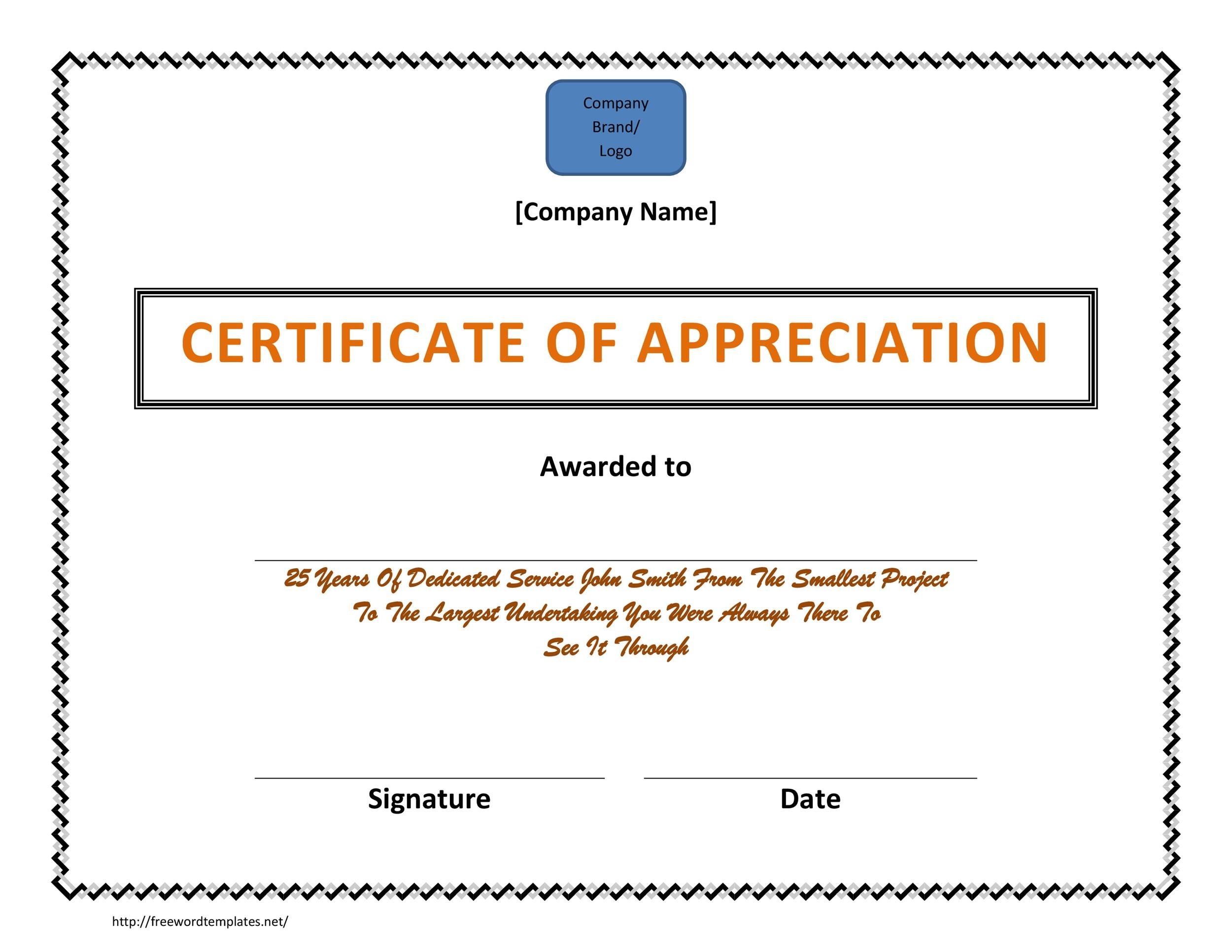 Printable Certificate Of Appreciation 05  Employee Appreciation Certificate Template Free