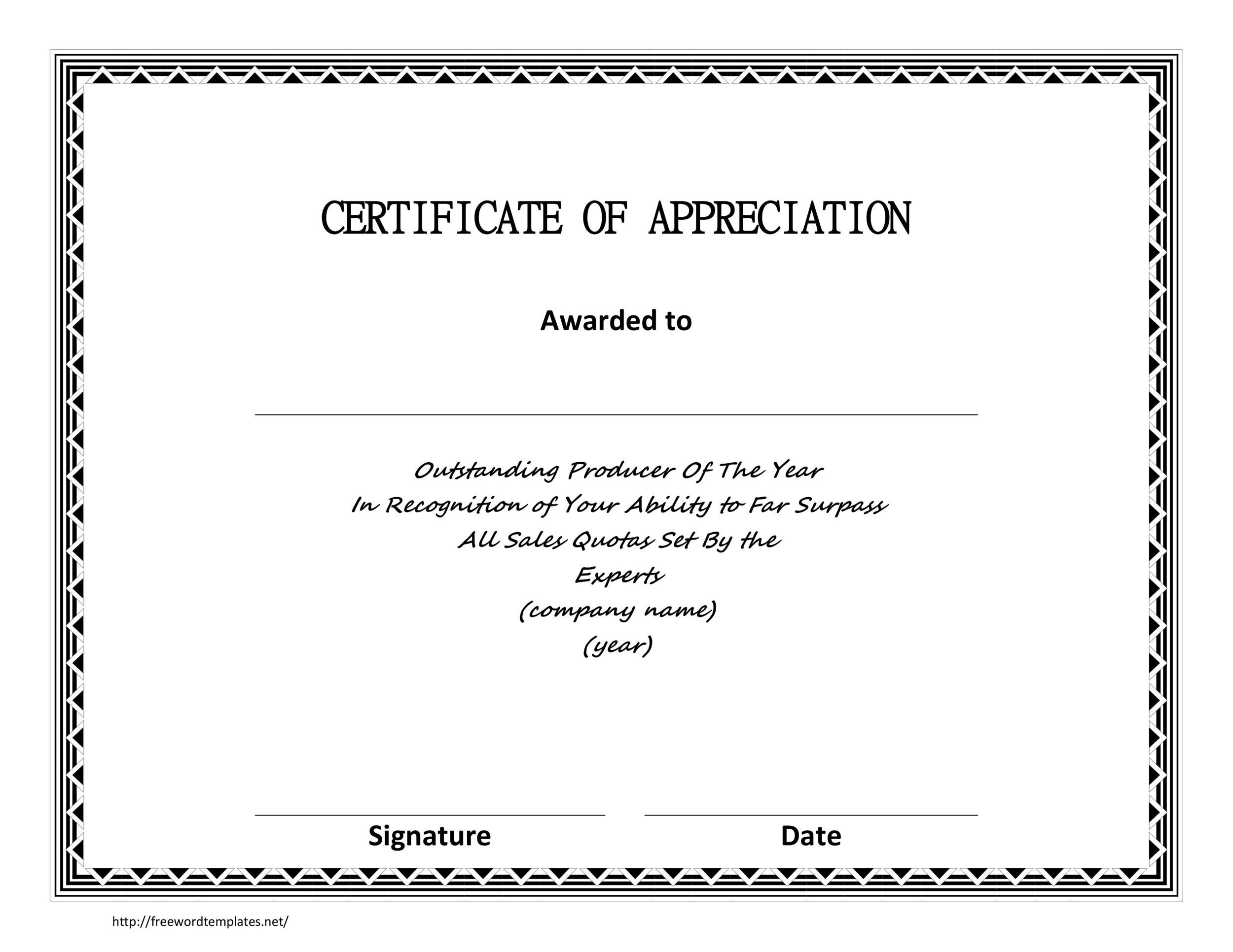 30 free certificate of appreciation templates and letters printable certificate of appreciation 06 yelopaper