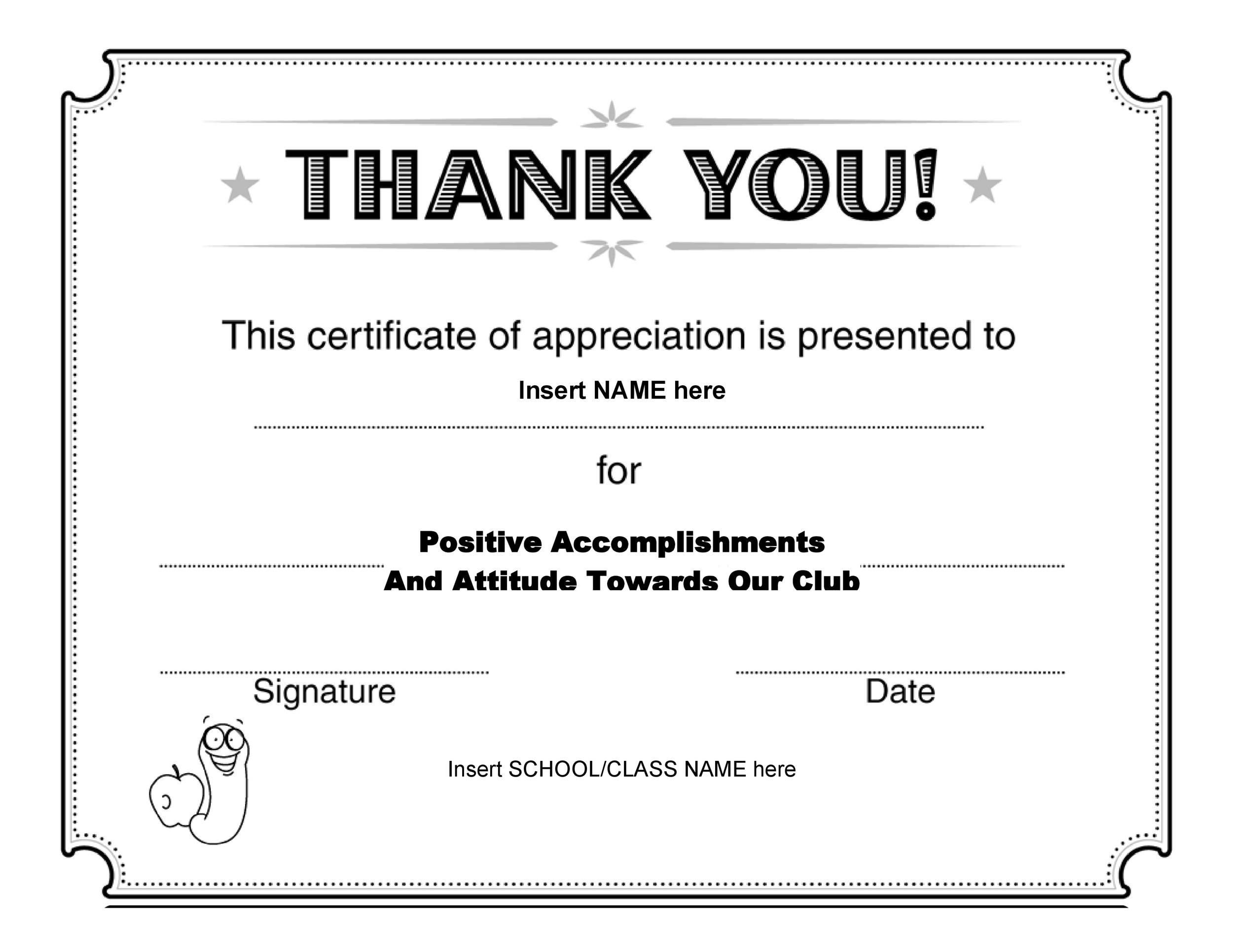 30 Free Certificate of Appreciation Templates and Letters – Thank You Certificate Template