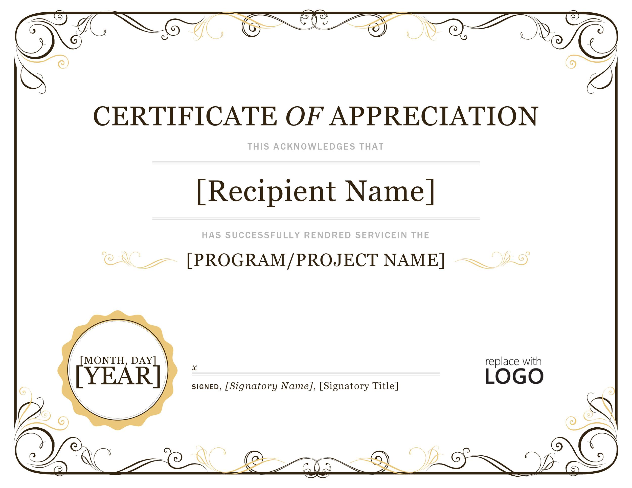 30 free certificate of appreciation templates and letters for Recognition of service certificate template
