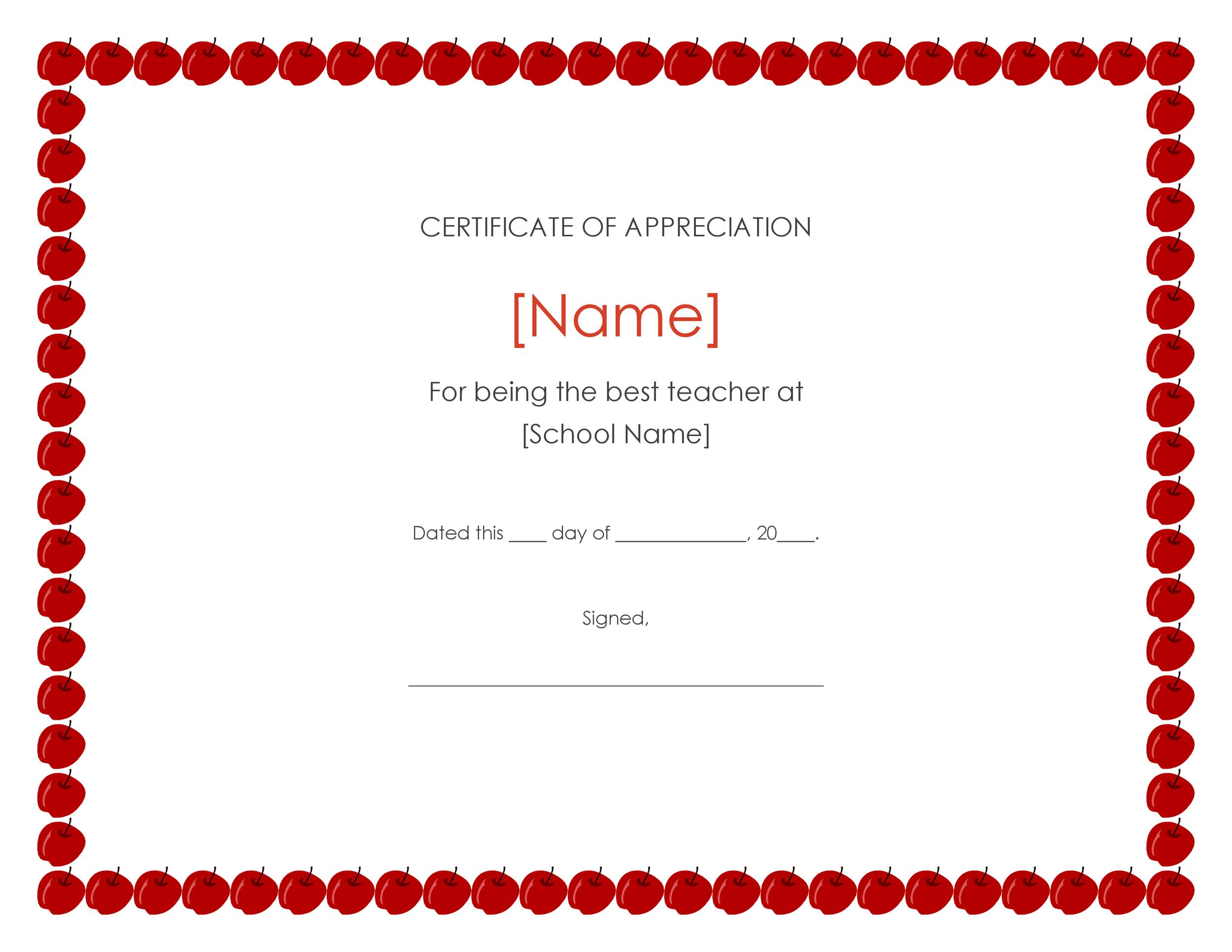 Free Certificate of Appreciation 09