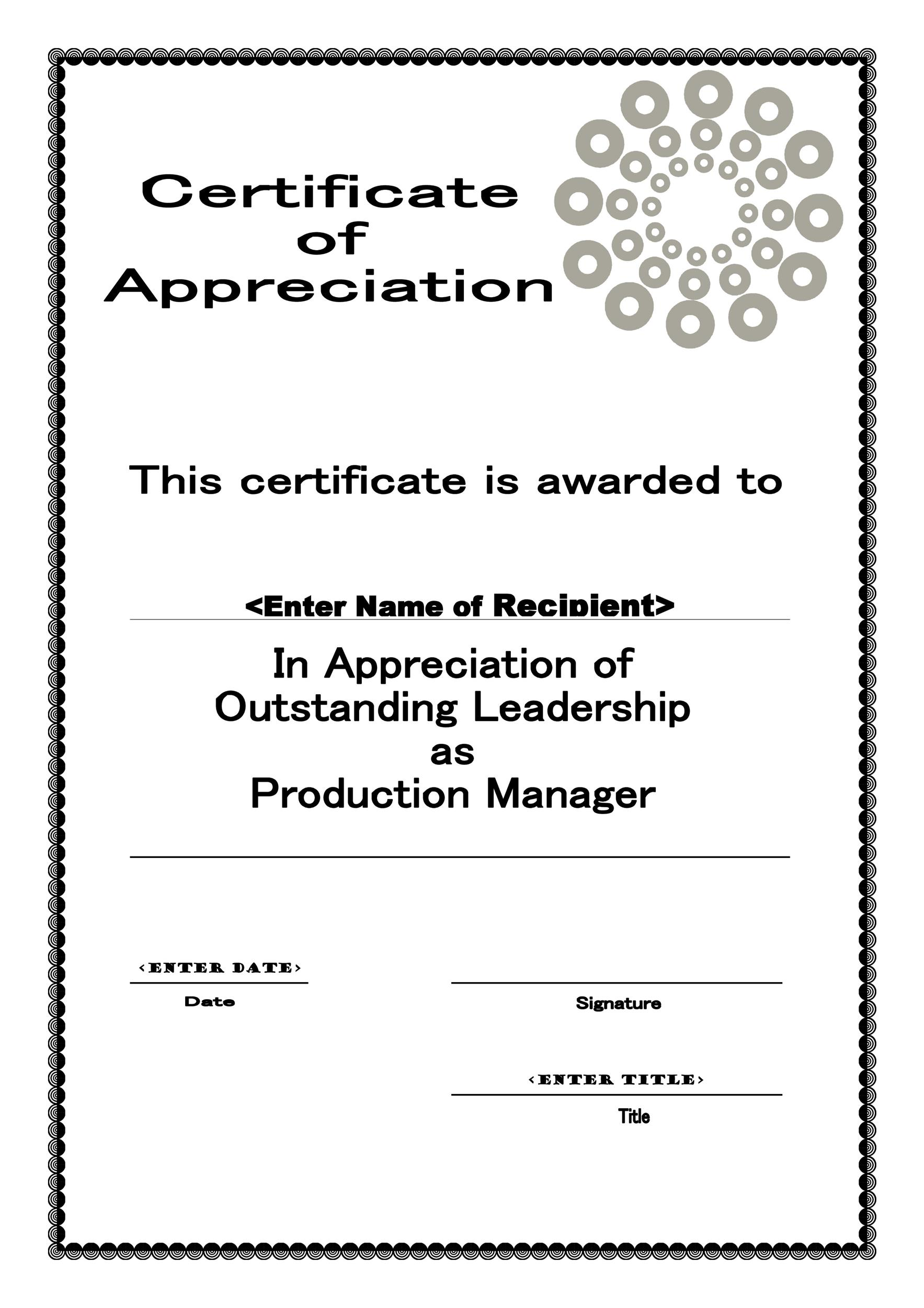 photograph about Free Printable Certificates of Appreciation referred to as 30 Free of charge Certification of Appreciation Templates and Letters